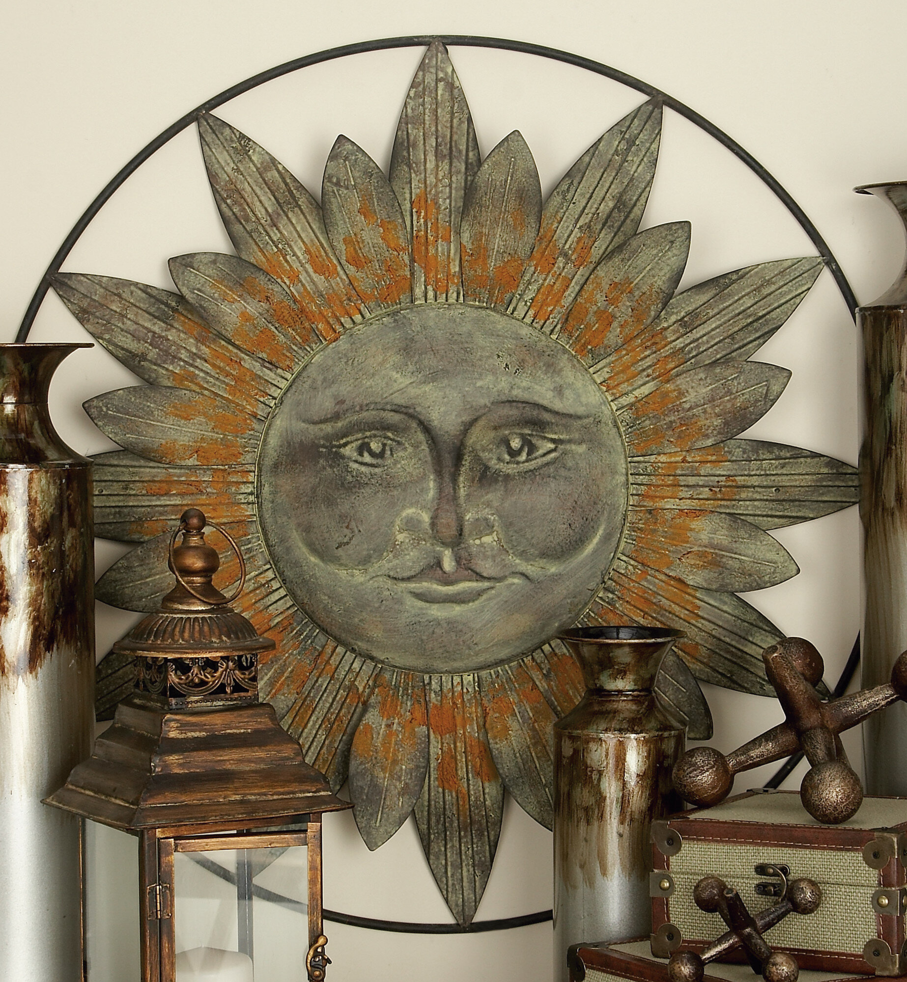 Metal Sun Wall Décor in Round Compass Wall Decor (Image 19 of 30)