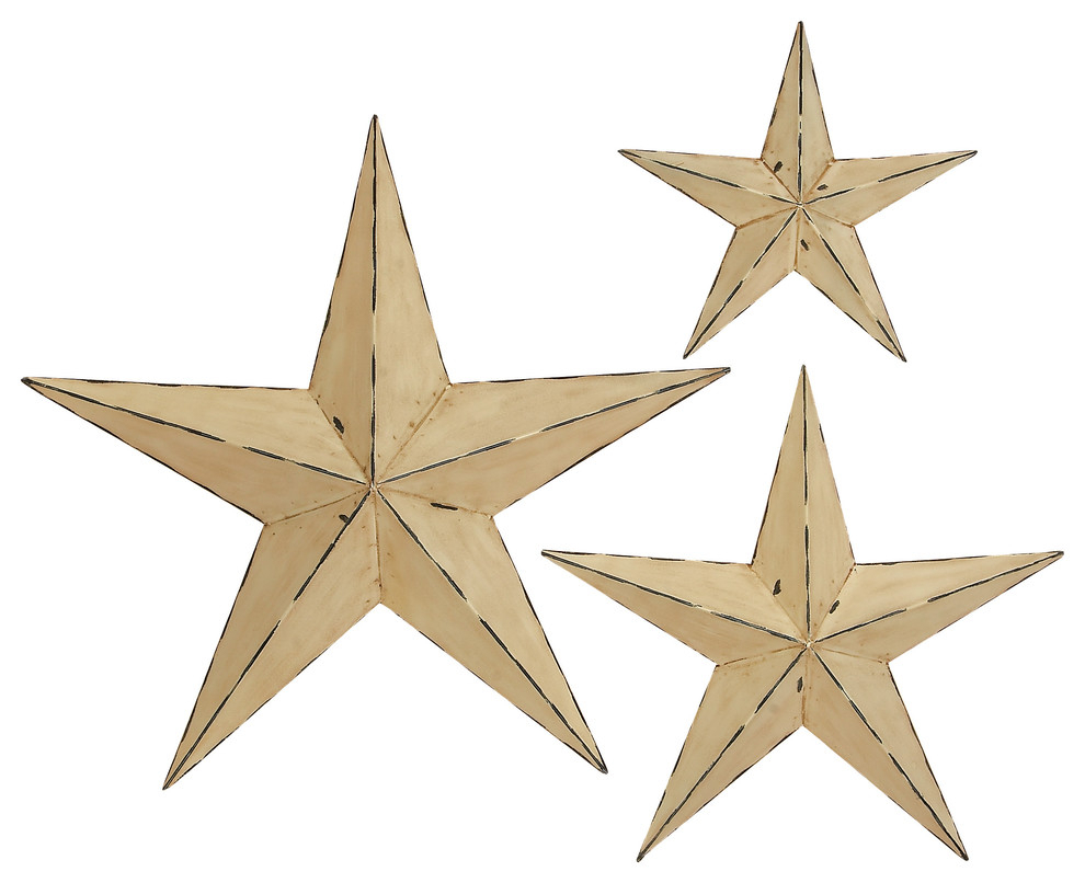 "Metal Three Dimensional Barn Star Wall Sculptures, 3-Piece Set, 24"", 18"",  12"" throughout Set of 3 Contemporary 6, 9, and 11 Inch Gold Tin Starburst Sculptures (Image 16 of 30)"