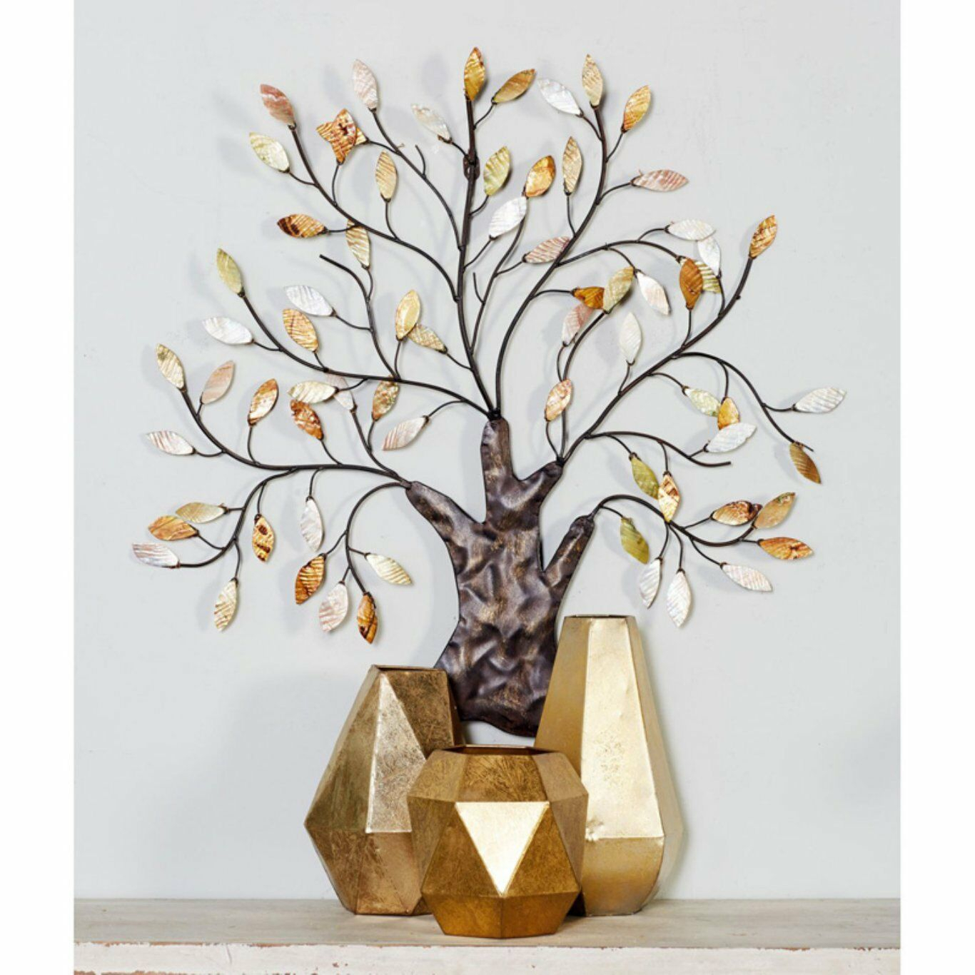 Metal Tree Wall Art Capiz Shell Leaves Tree Of Life Multi Color Wall Sculpture Within Tree Shell Leaves Sculpture Wall Decor (View 10 of 30)