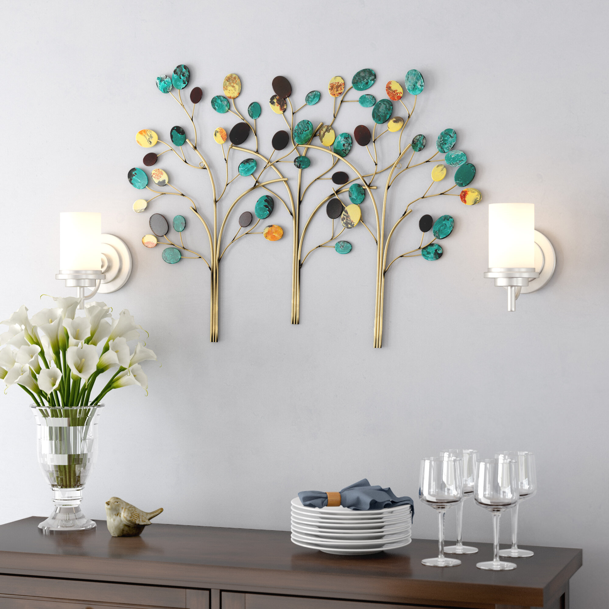 Metal Trees Wall Décor Regarding Leaves Metal Sculpture Wall Decor By Winston Porter (View 8 of 30)