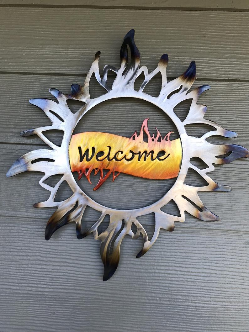 Metal Wall Art – Metal Sun – Welcome Sun – Home Decor – Signs – Decorations  – Nature – Address Sign – Yard Art – Celestial Intended For Nature Metal Sun Wall Decor (View 3 of 30)