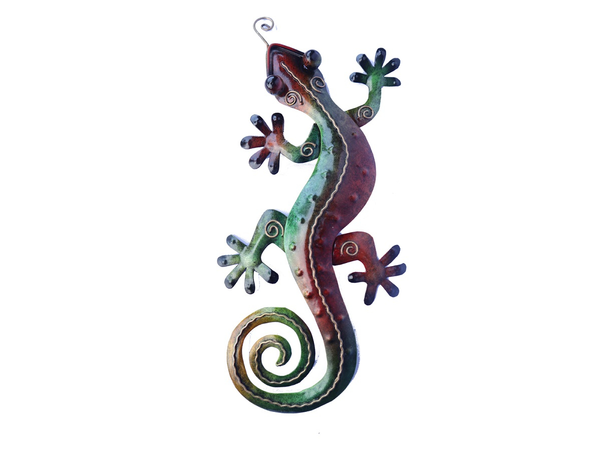 Metal Wall Art – Small Green Multicolour Gecko Wall Decor With Gecko Wall Decor (View 6 of 30)