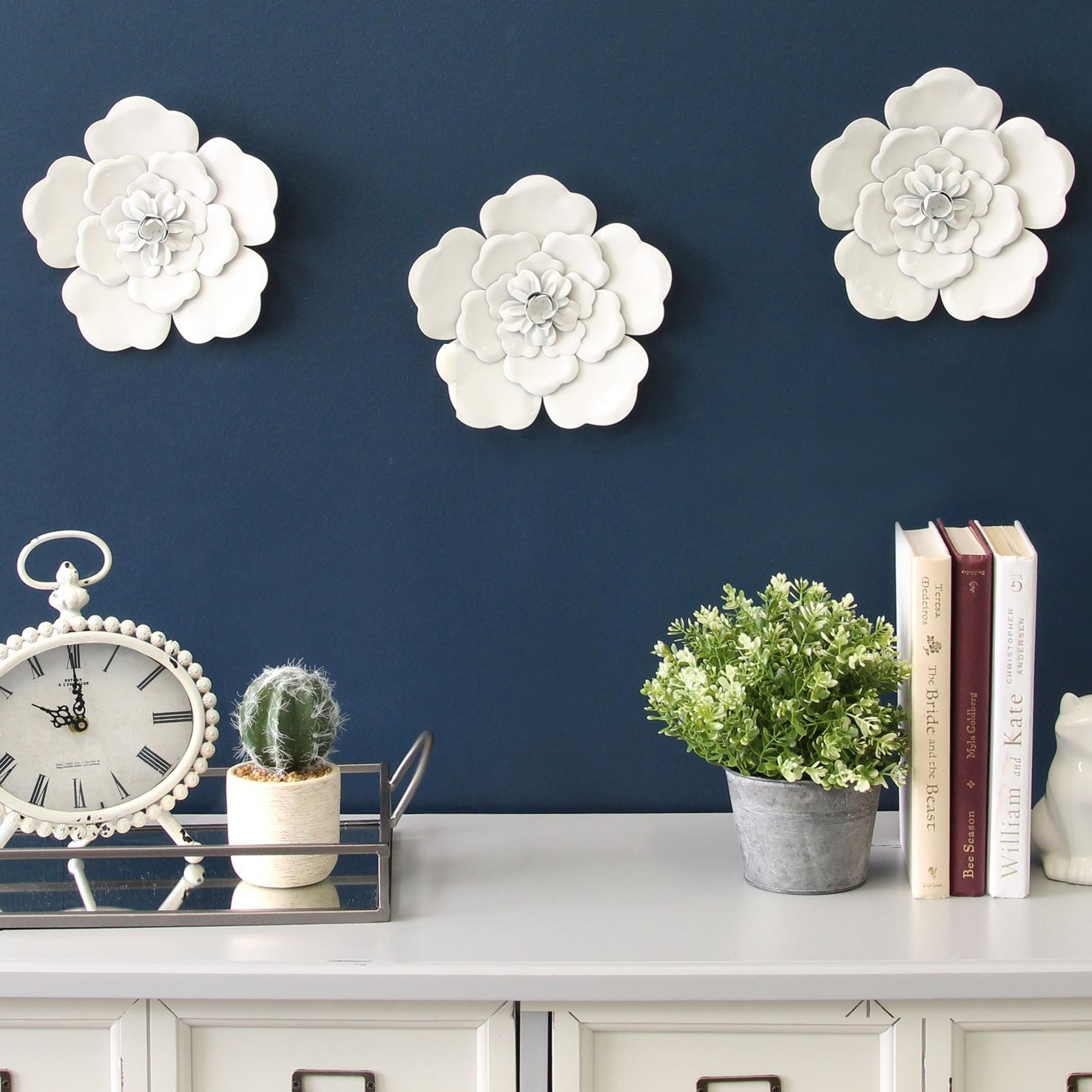 Metal Wall Flowers | Wayfair within Farm Metal Wall Rack And 3 Tin Pot With Hanger Wall Decor (Image 20 of 30)