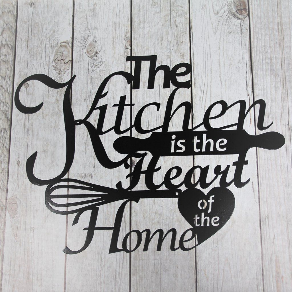 Metal Wall Sign, The Kitchen Is The Heart Of The Home, Home Regarding Personalized Distressed Vintage Look Kitchen Metal Sign Wall Decor (View 14 of 30)