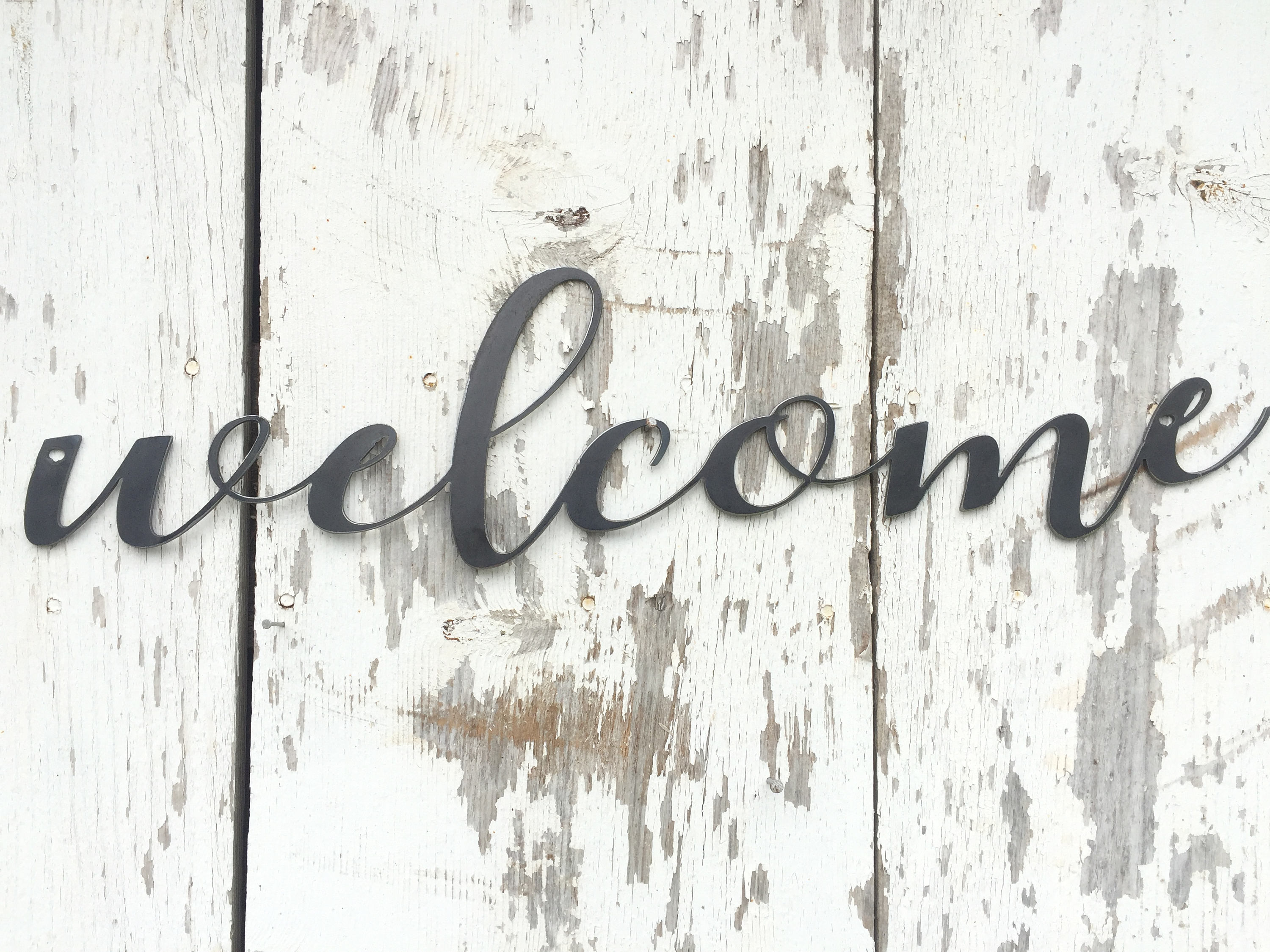 """Metal Welcome Sign - Metal Word - Metal Wall Art - Rustic Metal Word Art  Sign - Metal Sign - Welcome Wall Hanging - Industrial Home Decor regarding In-A-Word """"welcome"""" Wall Decor (Image 16 of 30)"""