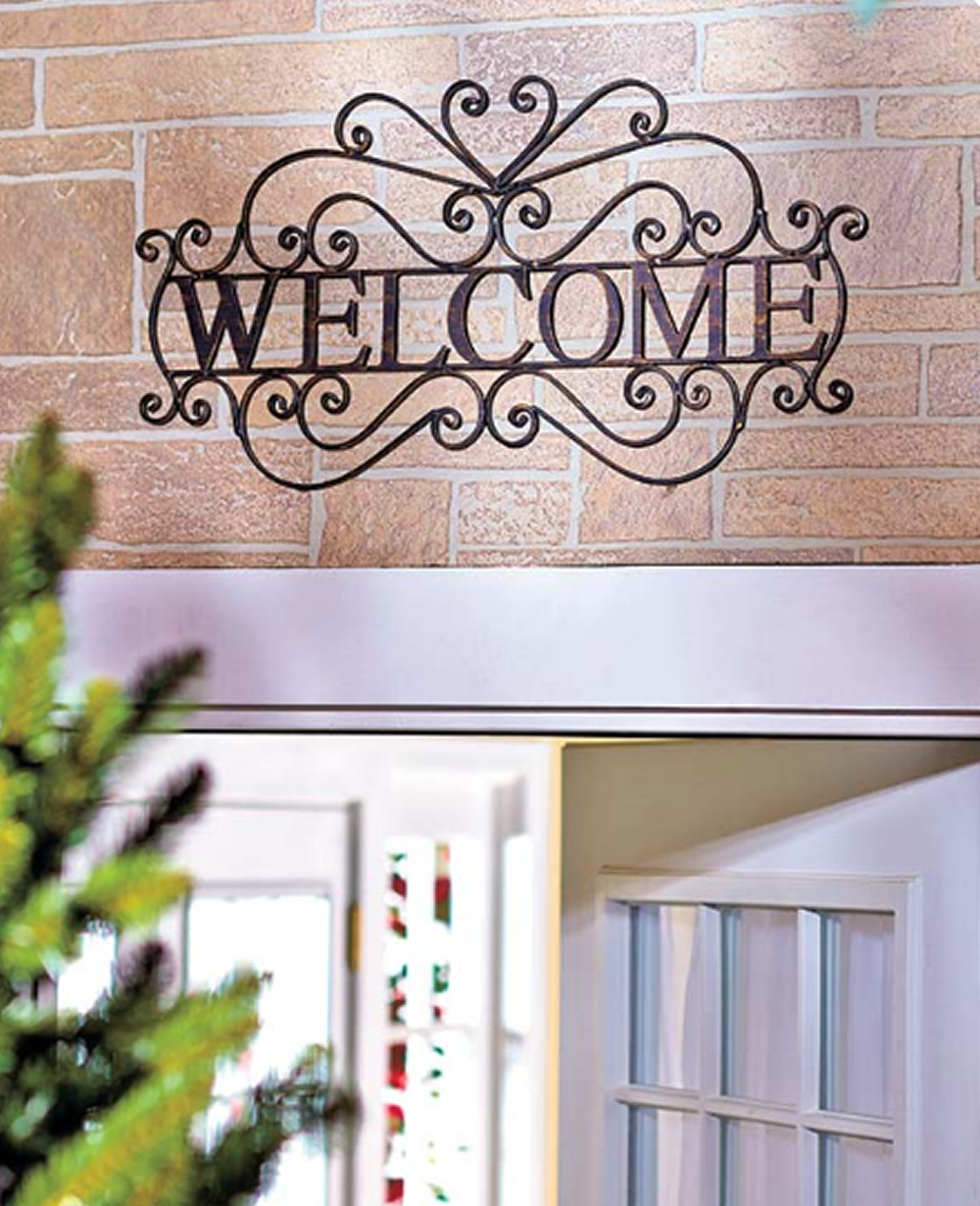 Metal Welcome Wall Plaque Hanging Entryway Sign | House Inside Tree Welcome Sign Wall Decor (View 3 of 30)