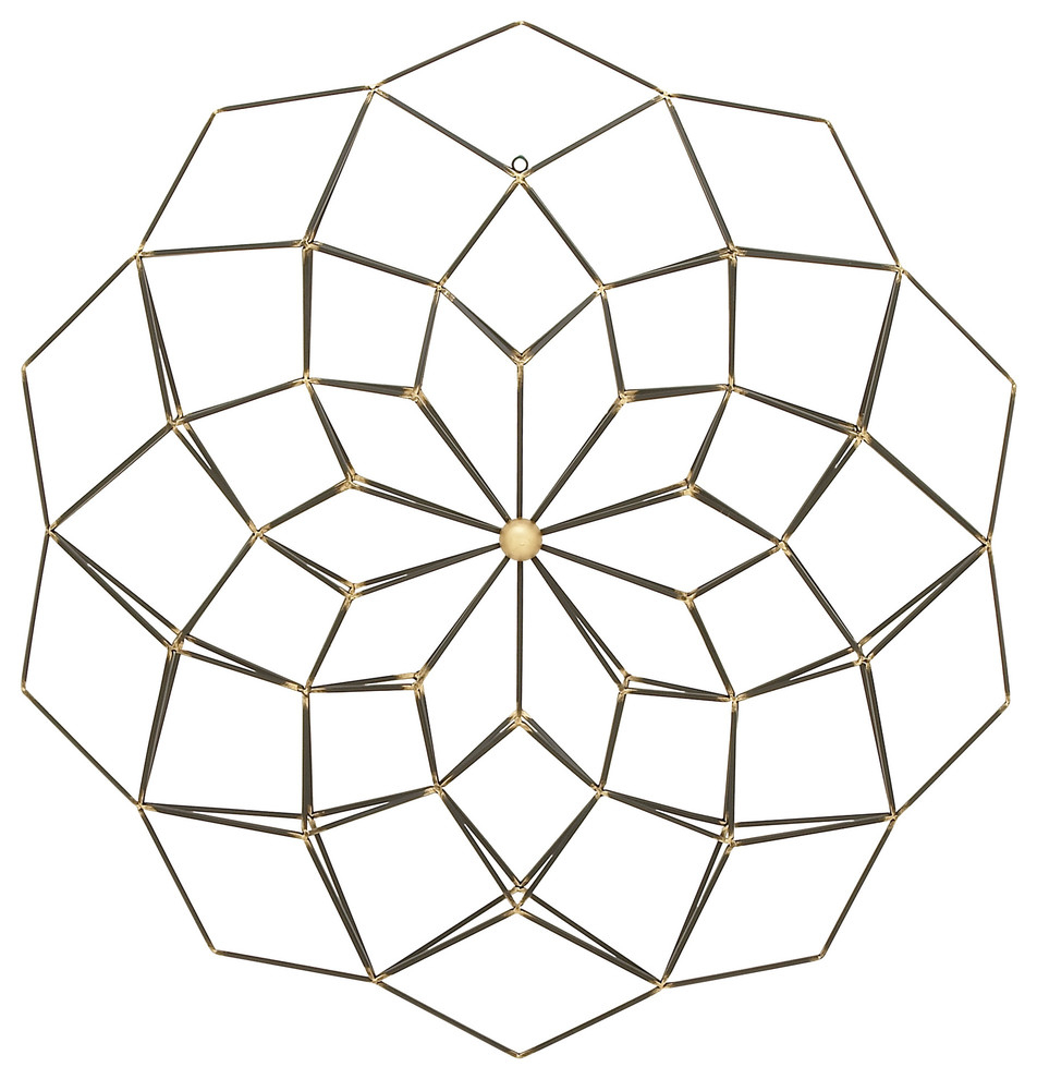 "Metallic Gold & Black Metal Wall Decor With Geometric Floral Design, 35""x35"" regarding Metal Wall Decor By Cosmoliving (Image 27 of 30)"
