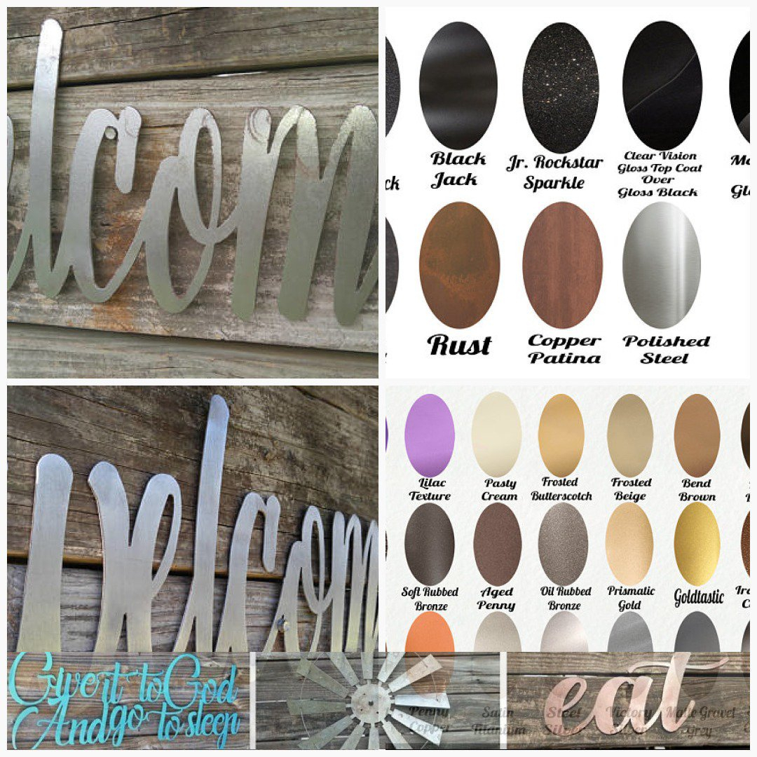 """Metalrusticsign Hashtag On Twitter with In-a-Word """"welcome"""" Wall Decor (Image 17 of 30)"""
