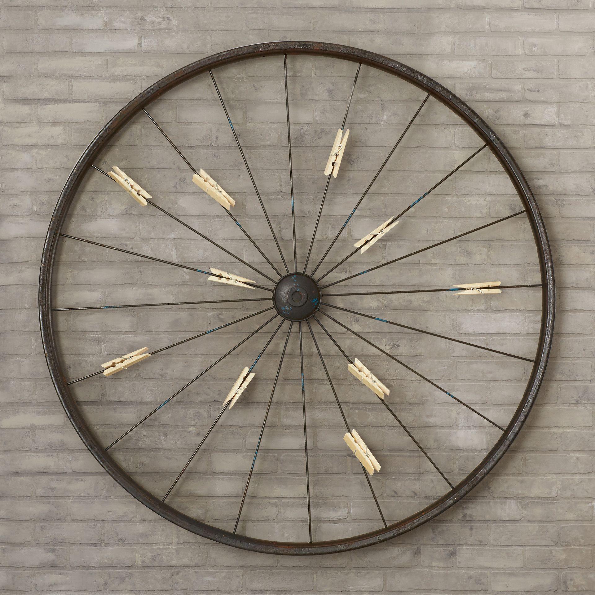 Millanocket Metal Wheel Photo Holder Wall Decor | Frames throughout Millanocket Metal Wheel Photo Holder Wall Decor (Image 25 of 30)