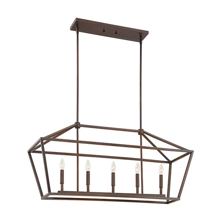 Millennium Lighting 40 In W 5 Light Rubbed Bronze Kitchen With Freemont 5 Light Kitchen Island Linear Chandeliers (View 7 of 30)