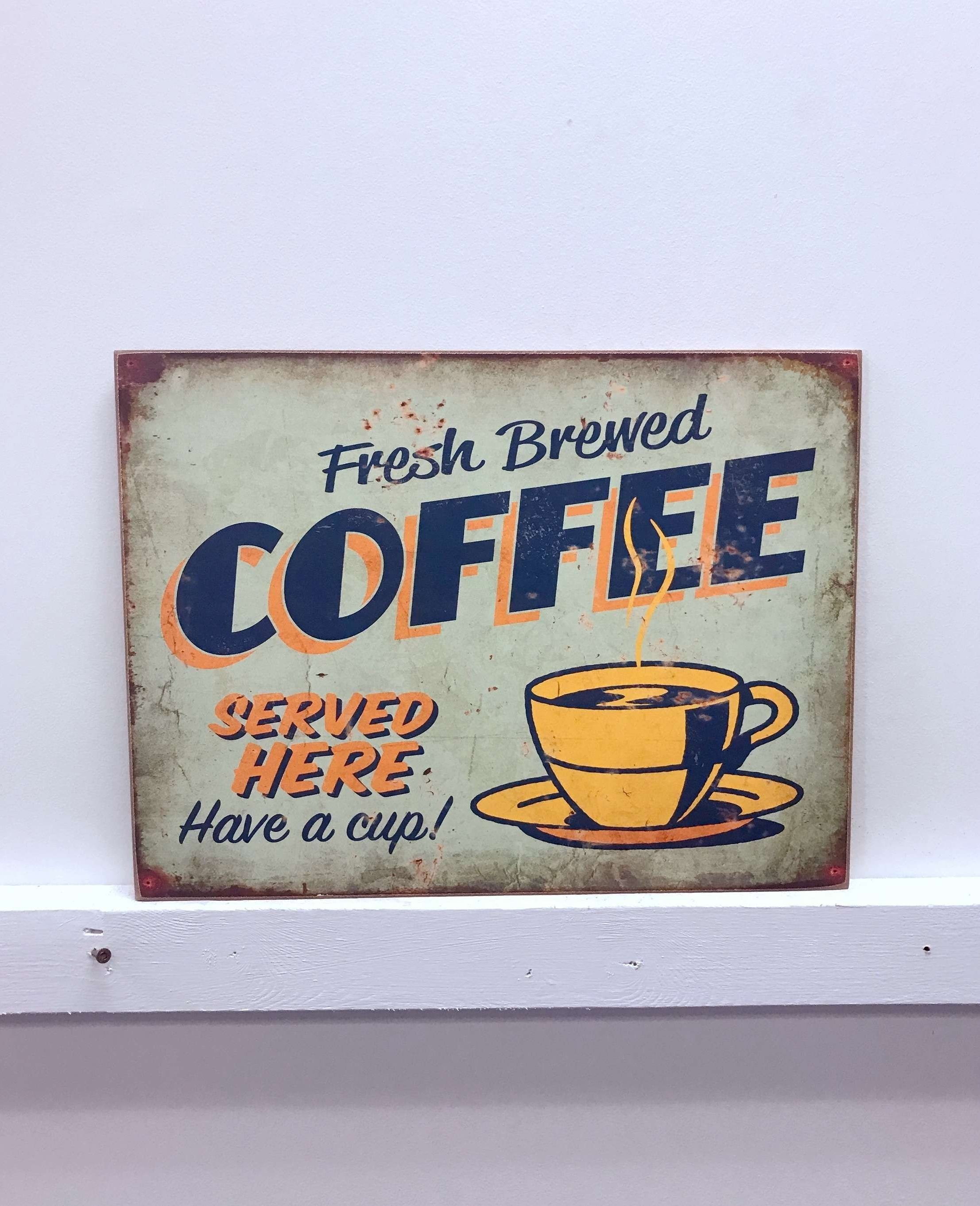 Millwood Pines Fresh Brewed Coffee Wooden Sign Wall Décor intended for Coffee Sign With Rebar Wall Decor (Image 12 of 30)
