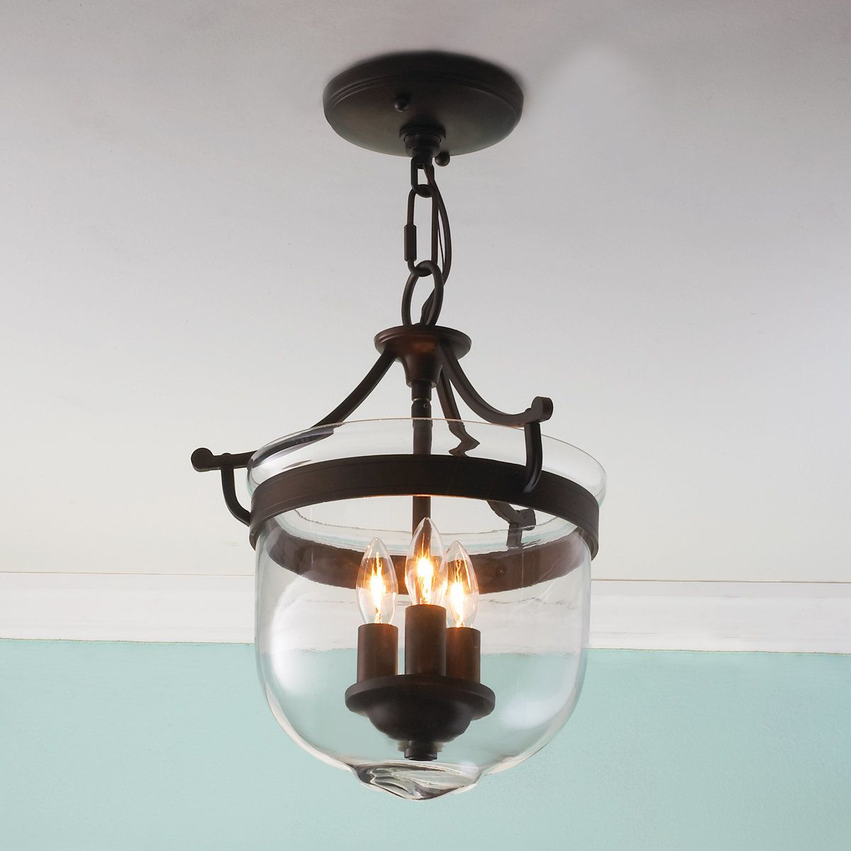 Mini Smokebell Semi Flush Ceiling Light | Foyer In 2019 With Regard To Alayna 4 Light Shaded Chandeliers (Image 23 of 30)