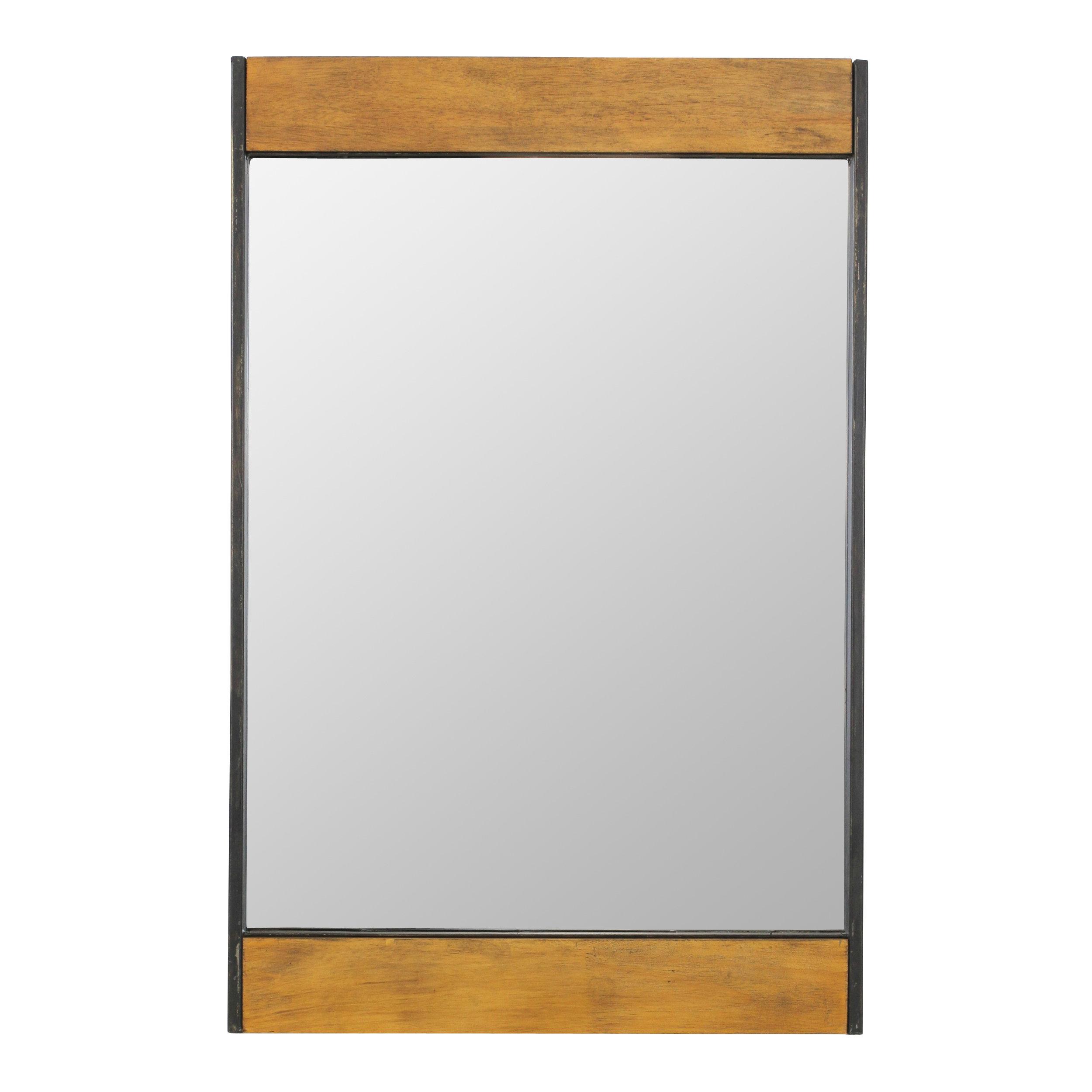 Miranda Wood And Metal Wall Mirror throughout Koeller Industrial Metal Wall Mirrors (Image 19 of 30)