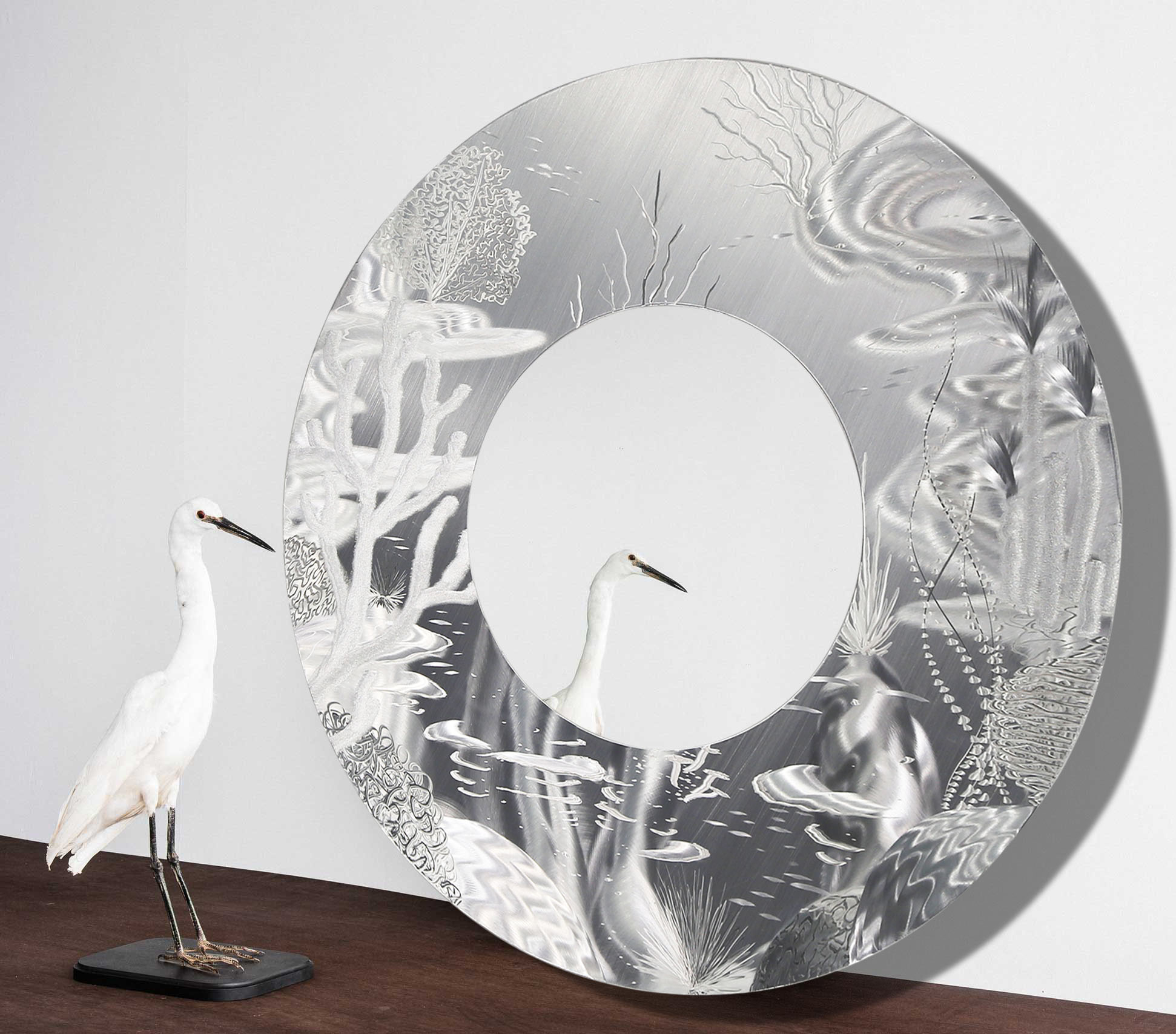 Mirror 102 – All Natural Silver Abstract Marine Life Circle Wall Mirror – Modern Metal Wall Accent Art For Contemporary Abstract Round Wall Decor (View 16 of 30)