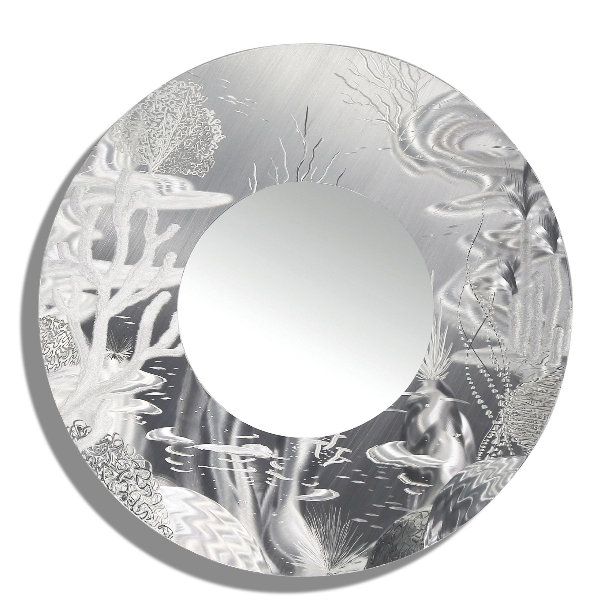 Mirror 102 – All Natural Silver Abstract Marine Life Circle Wall Mirror – Modern Metal Wall Accent Art Regarding Contemporary Abstract Round Wall Decor (View 17 of 30)