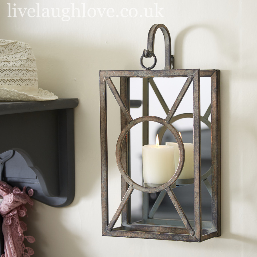 Mirrored Lantern Style Candle Holder Inside Live, Laugh, Love Antique Copper Wall Decor (View 16 of 30)