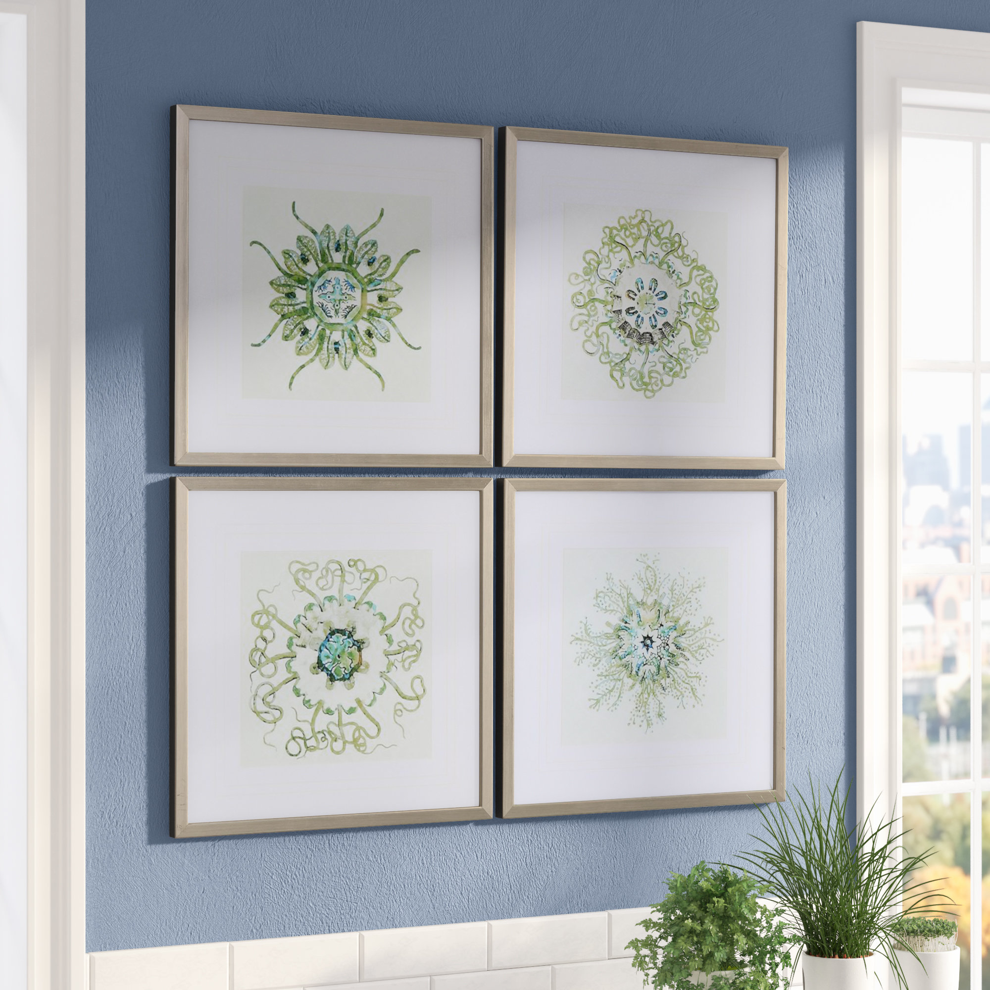 Mistana 'organic Symbols' 4 Piece Framed Graphic Art Set In 4 Piece Wall Decor Sets By Charlton Home (View 6 of 30)