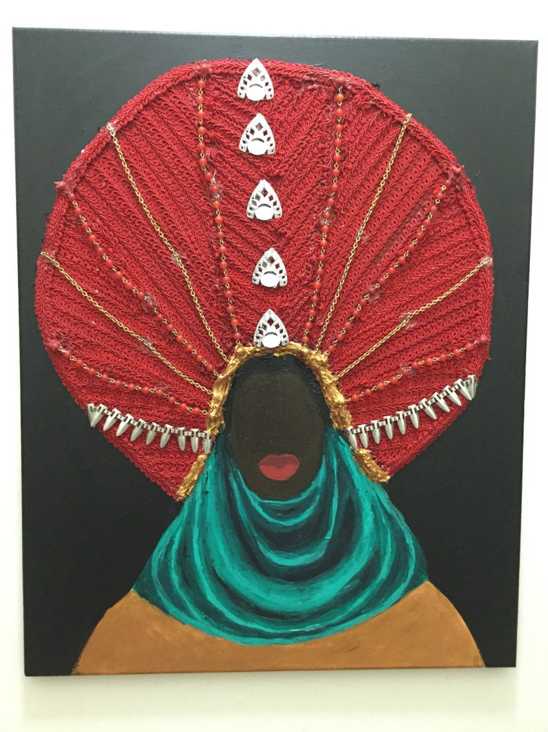 Mixed Media Acrylic Painting Fabric Art Black African American Queen Royal  Chain 3D Wall Decor Interior Design Pride Illustration intended for American Pride 3D Wall Decor (Image 14 of 30)