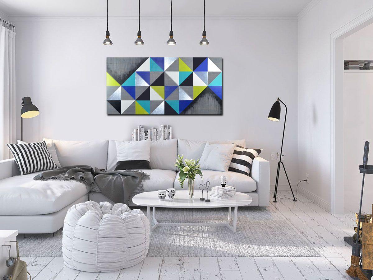 "Mod Cubism 48x24"" | Modern Artwork, Geometric Art, Wood Wall In Contemporary Geometric Wall Decor (View 19 of 30)"