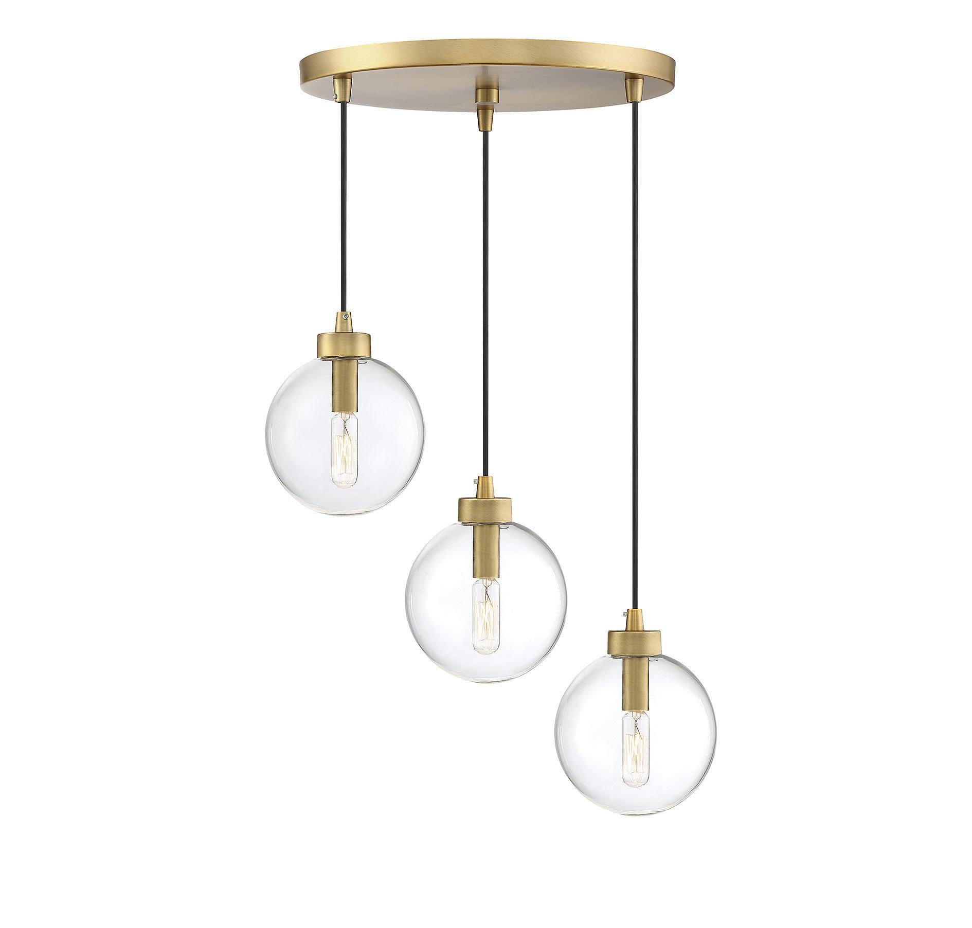 Modern 3 Light Cluster Pendant Lighting | Allmodern with Berenice 3-Light Cluster Teardrop Pendants (Image 14 of 30)