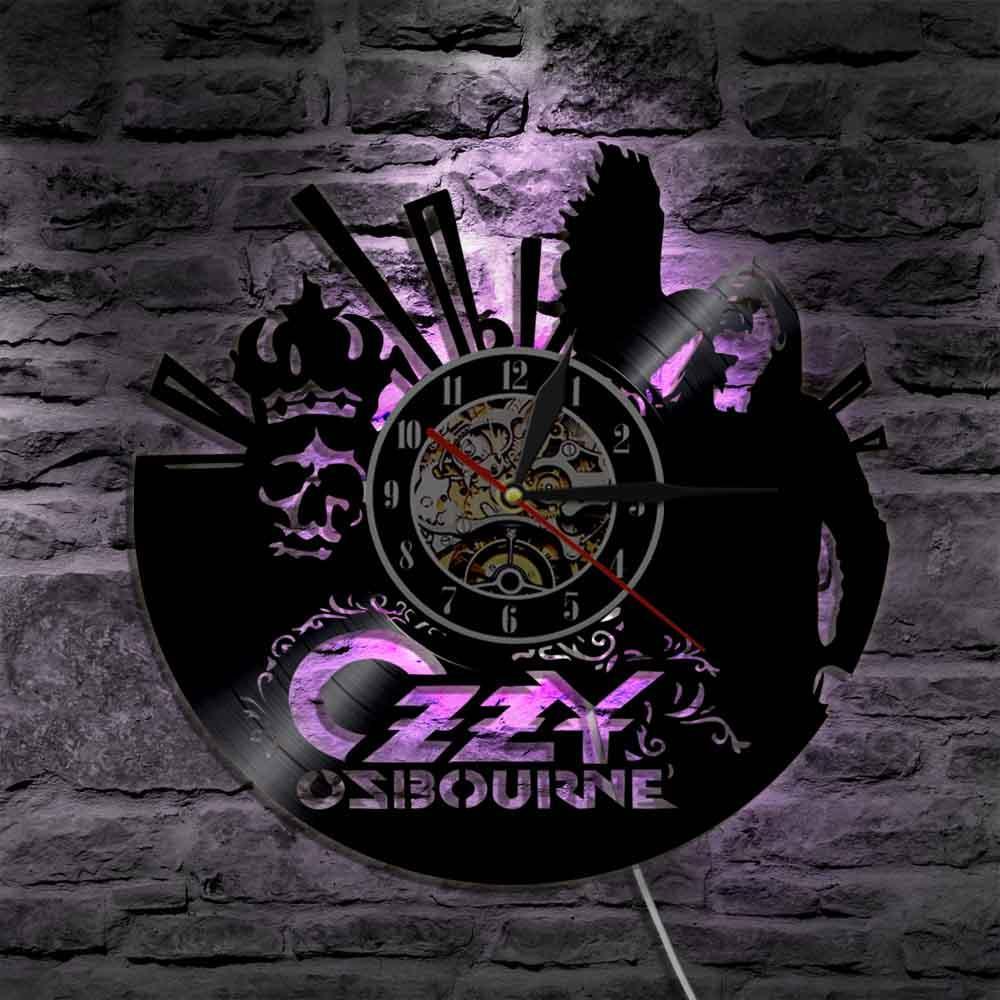 Modern Art 2019 Ozzy Osbourne Singer Silhouette Led Light Backlight Wall Vinyl Clock Color Changing Living Room Decor Remote Controller Regarding Osbourne Wall Decor (View 12 of 30)