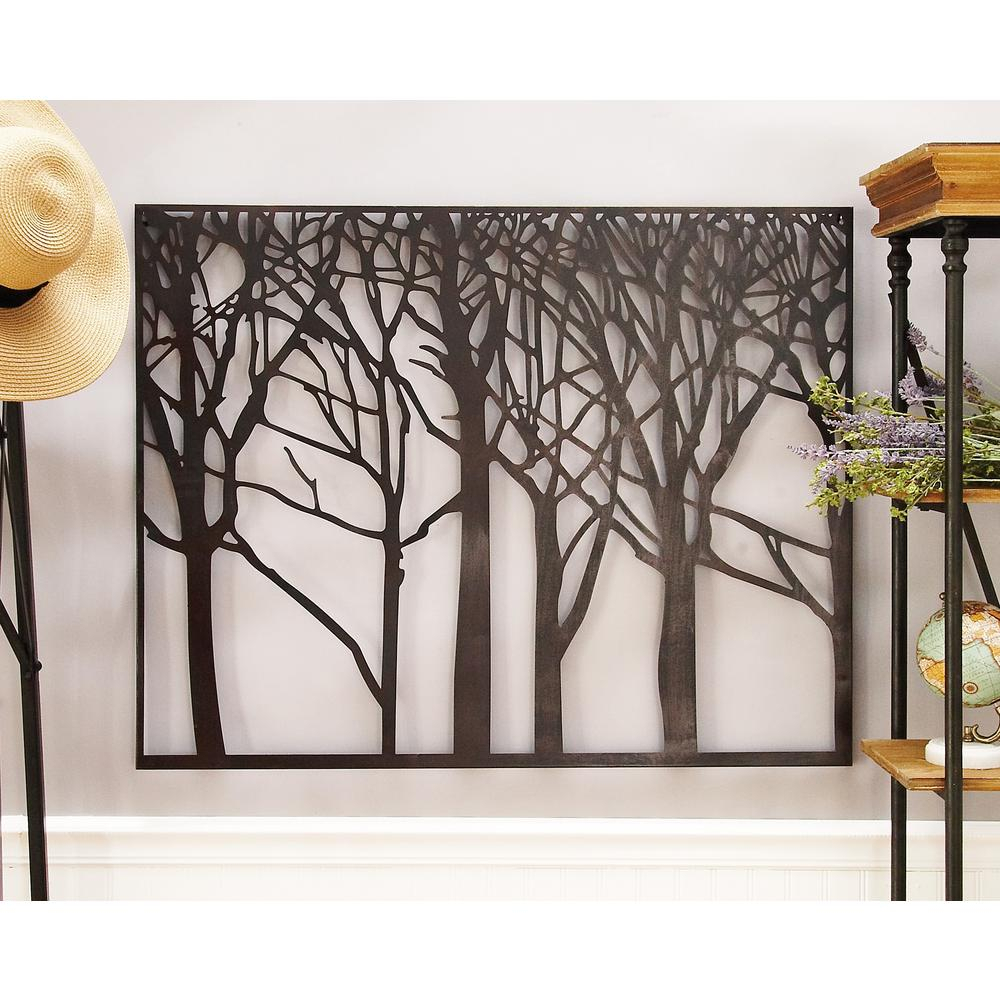 Modern Black Iron Tree And Branch Silhouette Wall Decor In Contemporary Forest Metal Wall Decor (View 6 of 30)