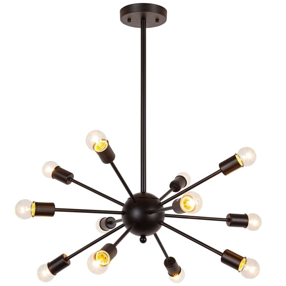 Modern Chandelier Mid Century Sputnik Black Dimmable Ceiling Regarding Vroman 12 Light Sputnik Chandeliers (View 9 of 30)