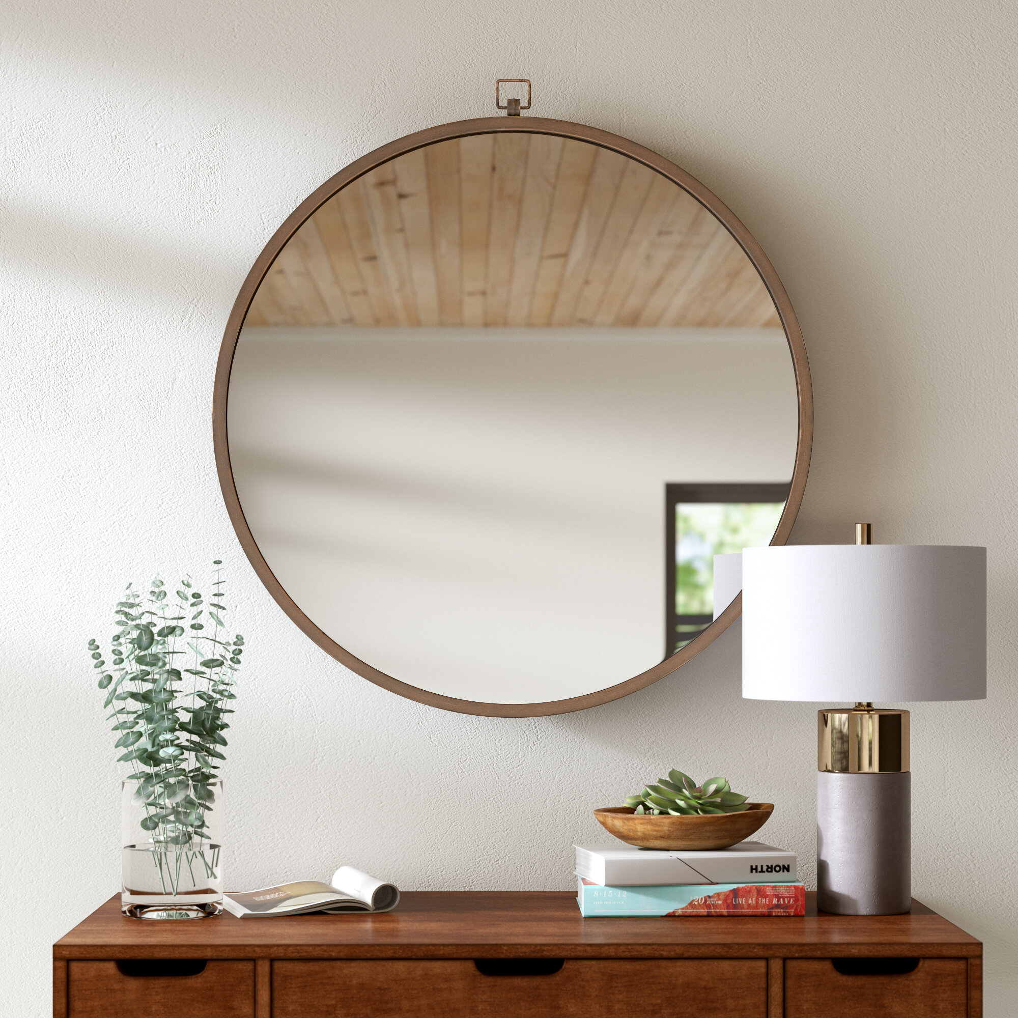 Modern & Contemporary Framed Bathroom Mirrors | Allmodern Intended For Landover Rustic Distressed Bathroom/vanity Mirrors (View 21 of 30)