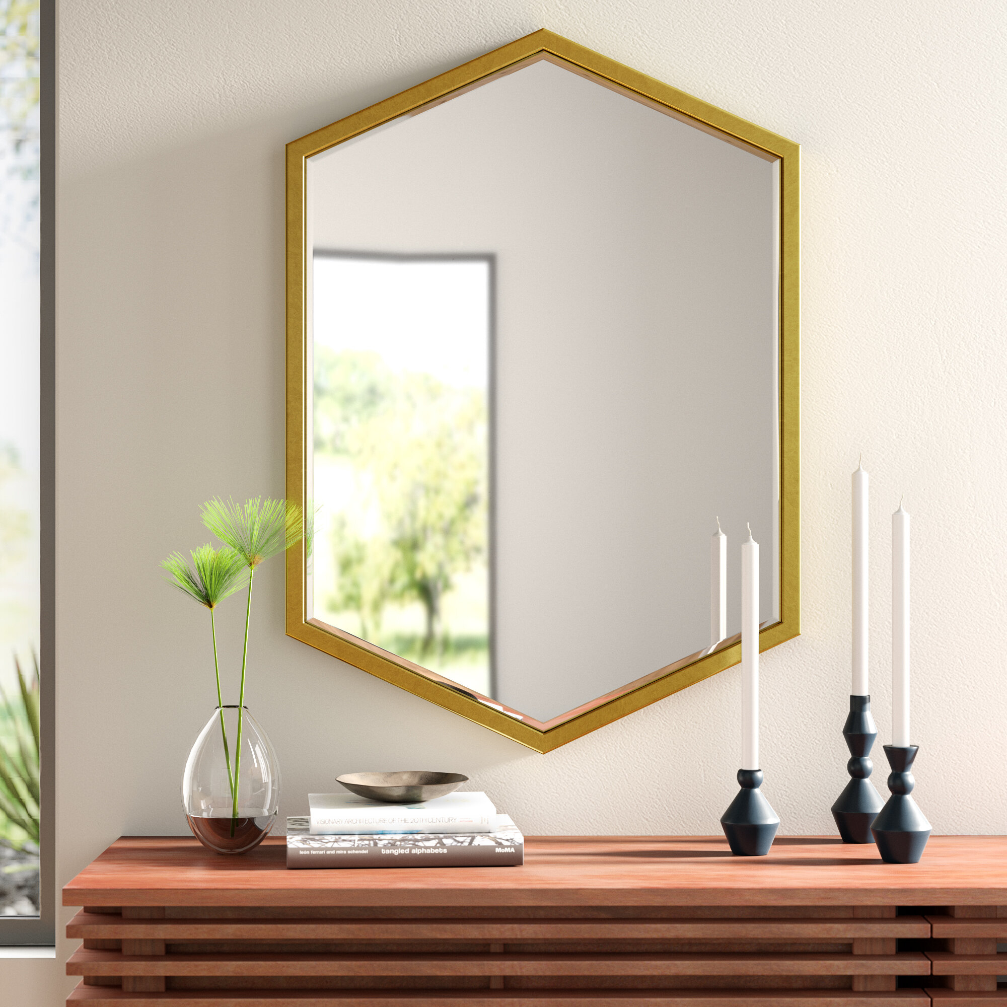 Modern & Contemporary Framed Wall Mirror | Allmodern for Rectangle Ornate Geometric Wall Mirrors (Image 15 of 30)