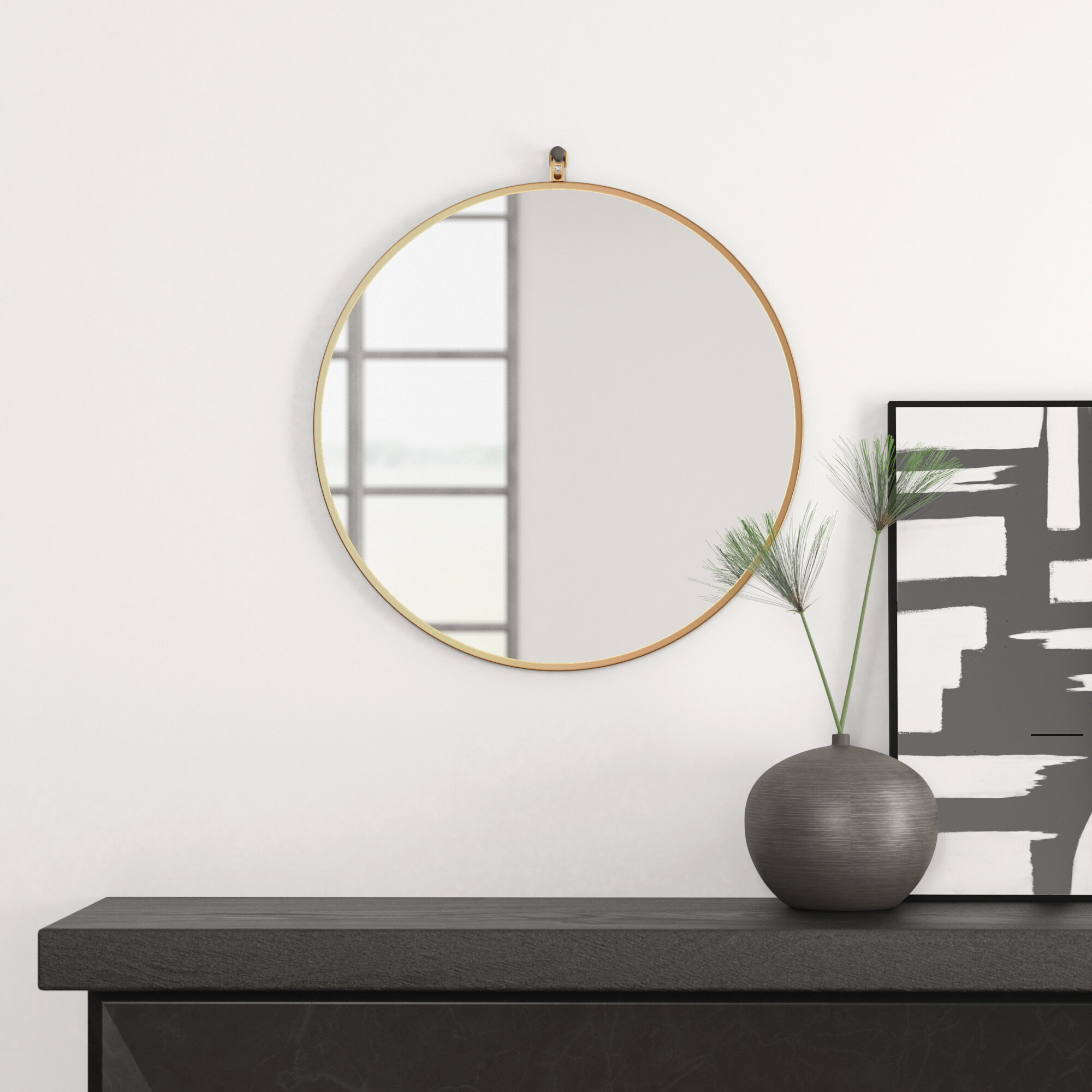 Modern & Contemporary Modern Large Wall Mirror | Allmodern Inside Pennsburg Rectangle Wall Mirror By Wade Logan (View 24 of 30)
