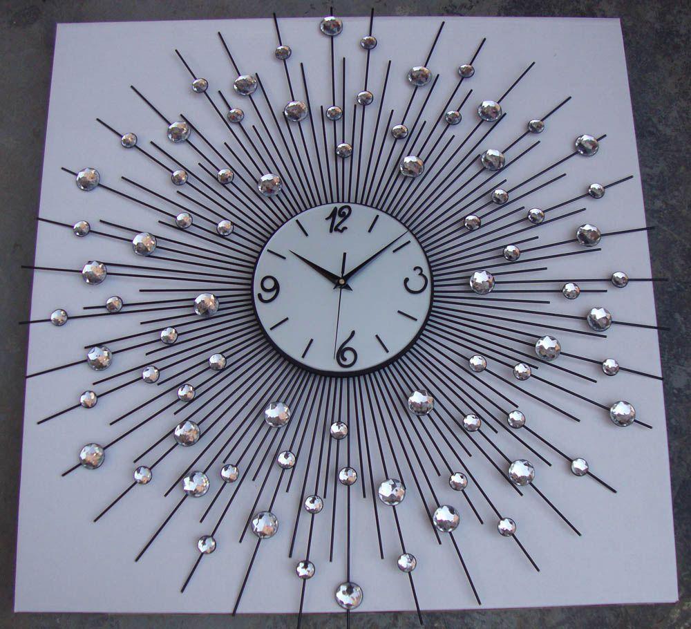 Modern Designer Large Metal Art Crystal Wall Clock (View 11 of 30)