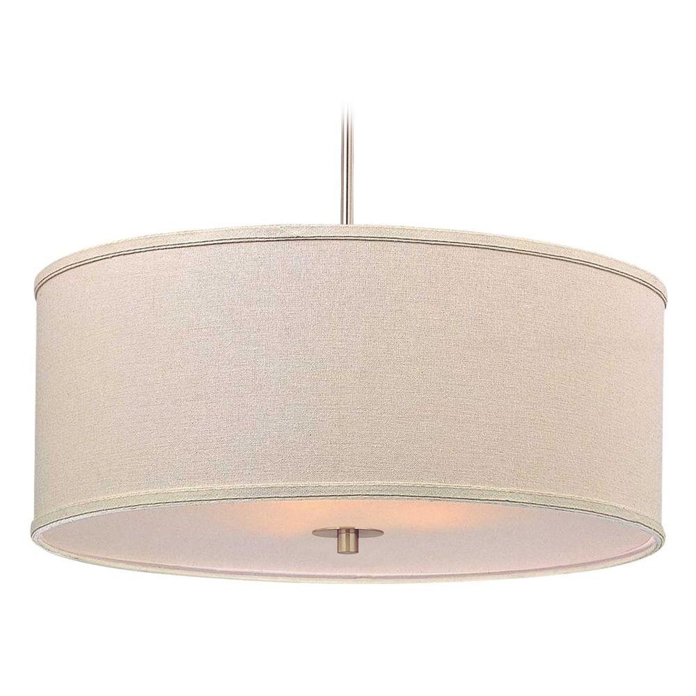 Modern Drum Pendant Light With Cream Linen Shade At Destination Lighting regarding Jill 4-Light Drum Chandeliers (Image 26 of 30)