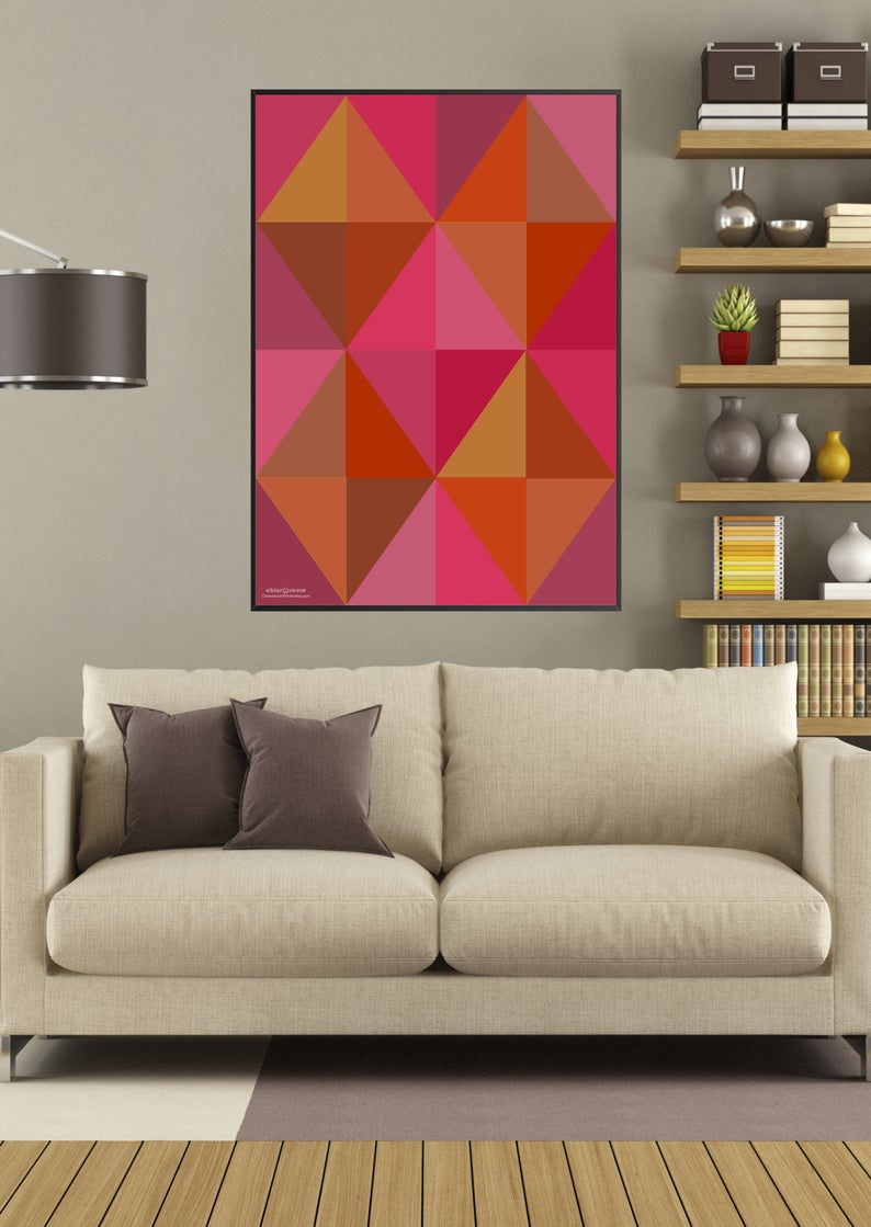 Modern Geometric Printable Art. Contemporary Wall Art In Hot, Spicy Colors.  Minimalist Wall Decor. Retro Design. Unique Last Minute Gift. in Contemporary Geometric Wall Decor (Image 26 of 30)