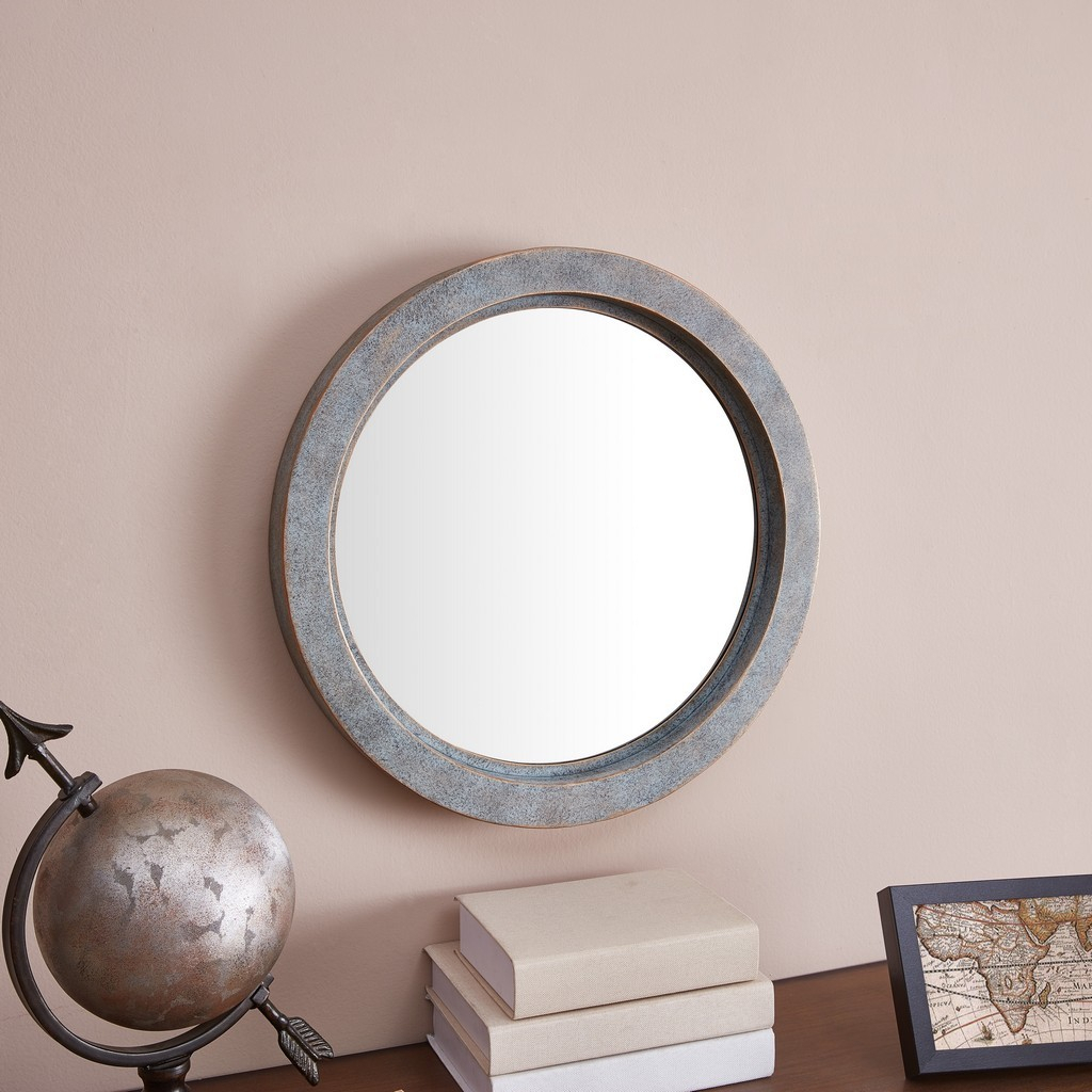 Modern Industrial Floating Round 20 Inch Wall Mirror With Antiqued Copper Metal Frame – Contemporary Framed Hanging Mirror For Industrial Modern & Contemporary Wall Mirrors (View 25 of 30)