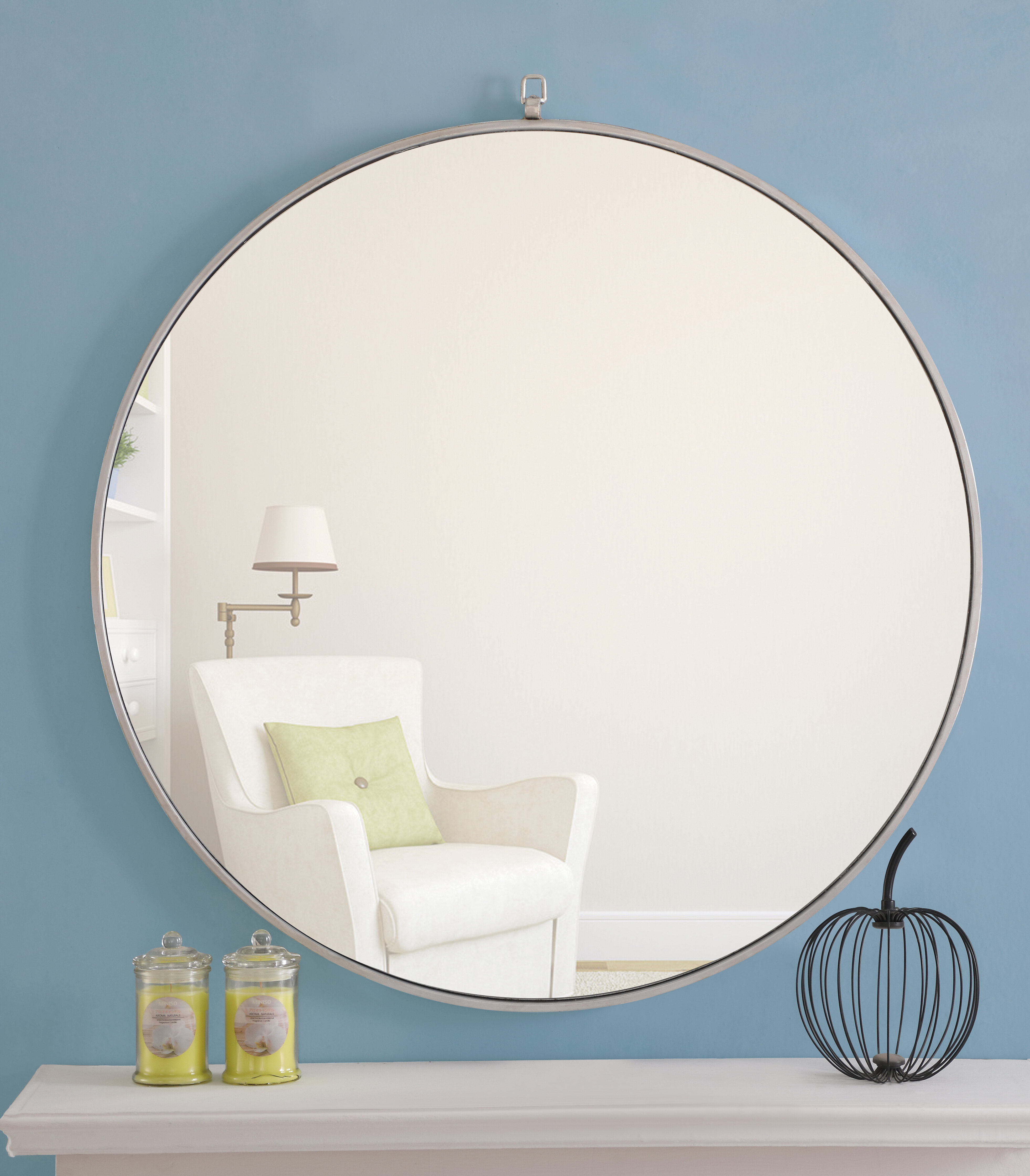 "Modern Large & Oversized (Over 32"" High) Round Wall Mirrors intended for Yedinak Modern Distressed Accent Mirrors (Image 14 of 30)"
