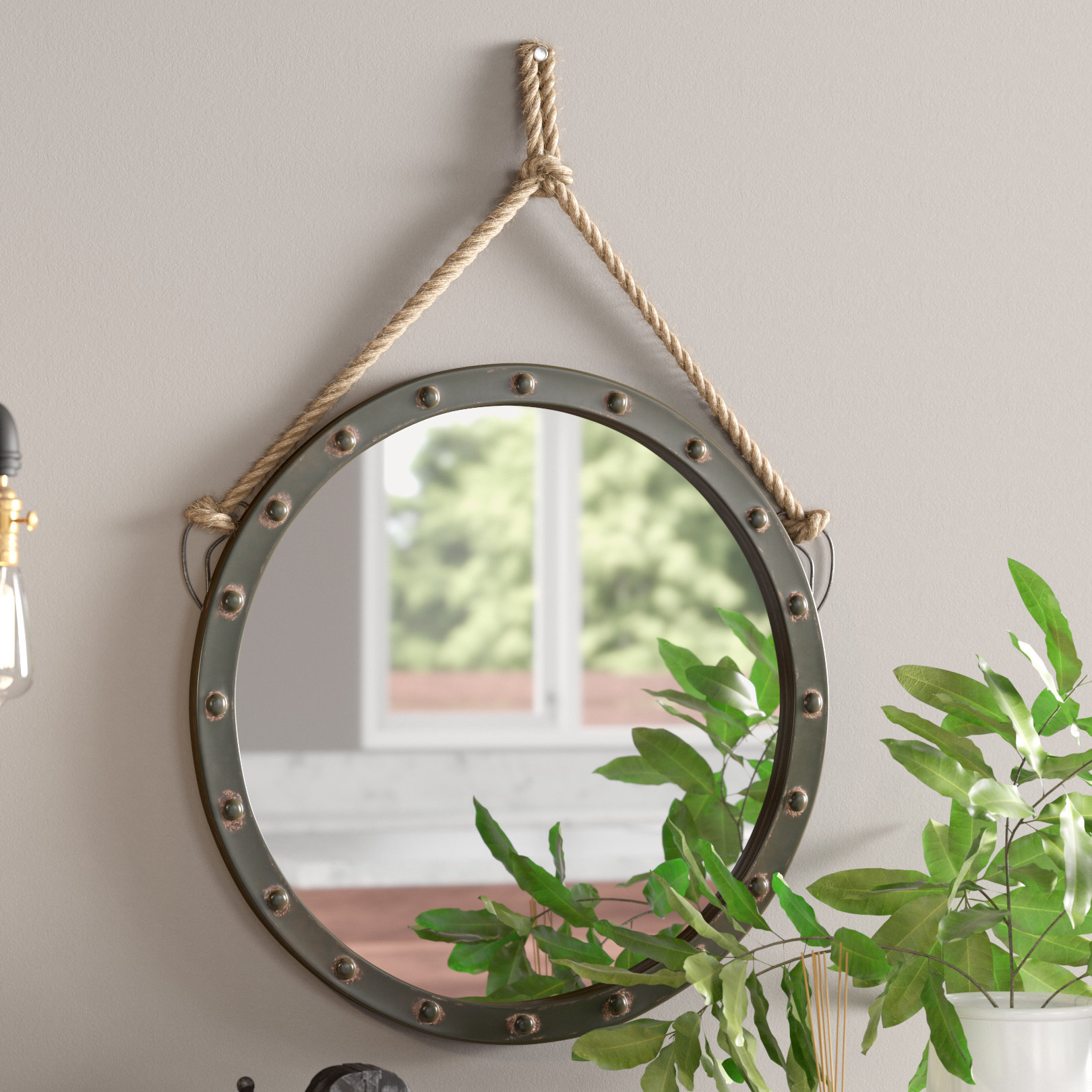 "Modern Large & Oversized (over 32"" High) Round Wall Mirrors With Regard To Round Eclectic Accent Mirrors (View 7 of 30)"