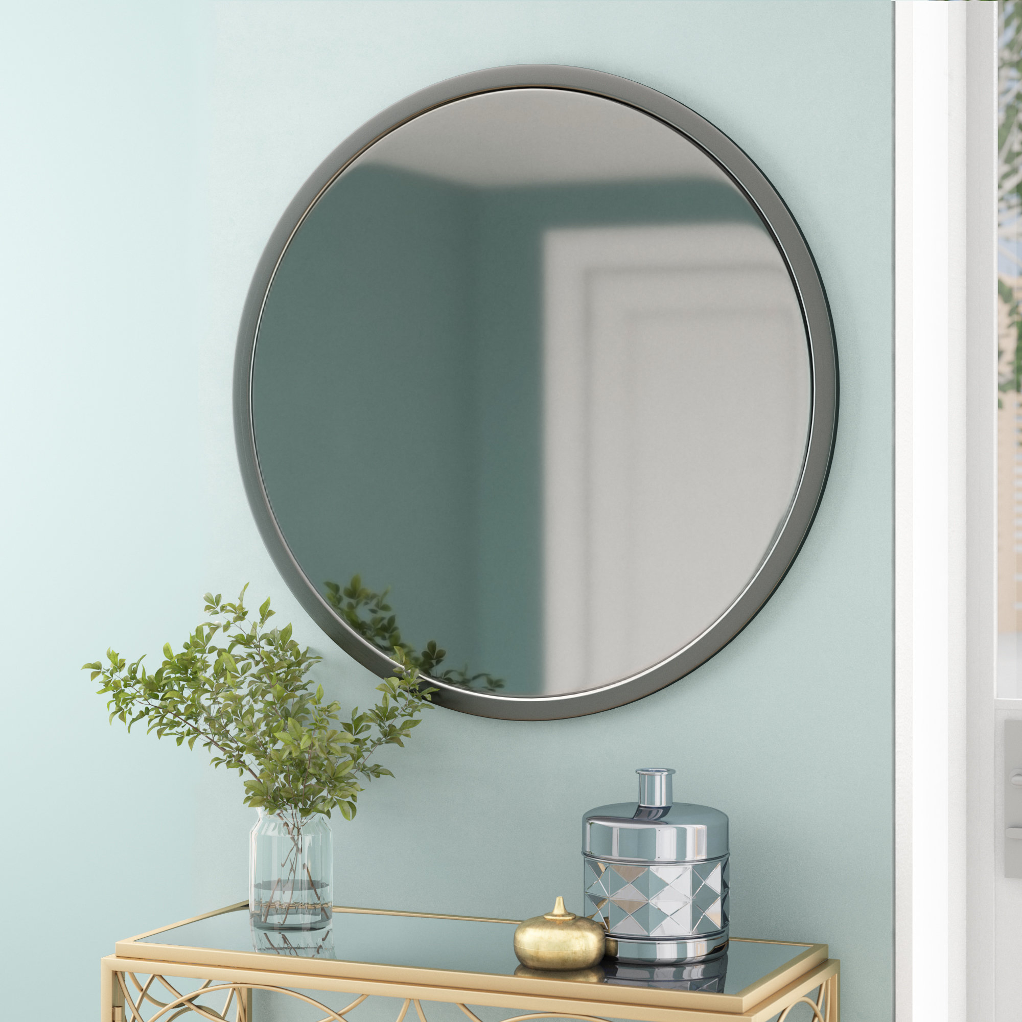 Modern Metal Round Wall Mirrors | Allmodern Intended For Brynn Accent Mirrors (View 12 of 30)