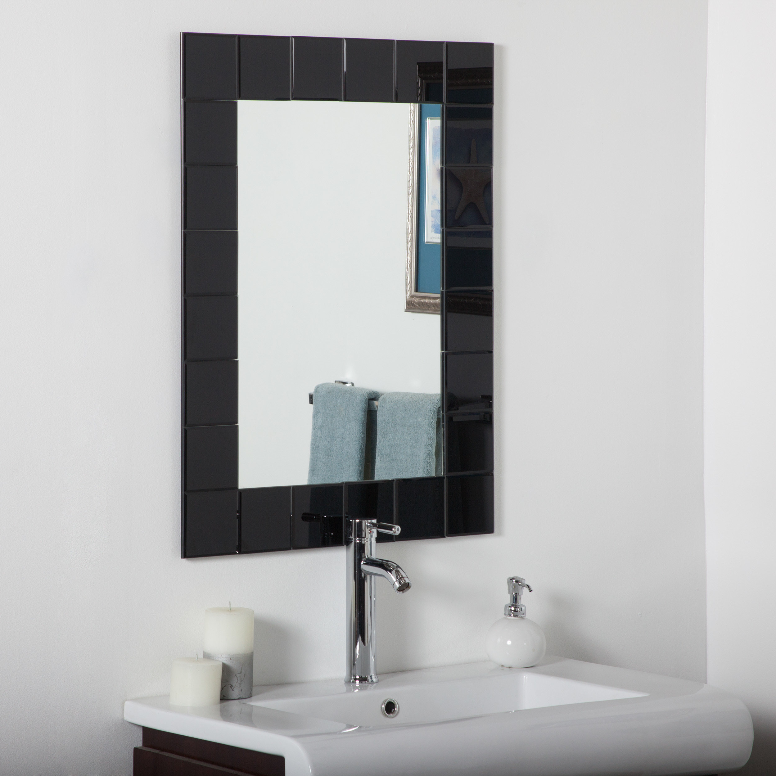 Modern Rectangle Wall Mirror intended for Estefania Frameless Wall Mirrors (Image 18 of 30)