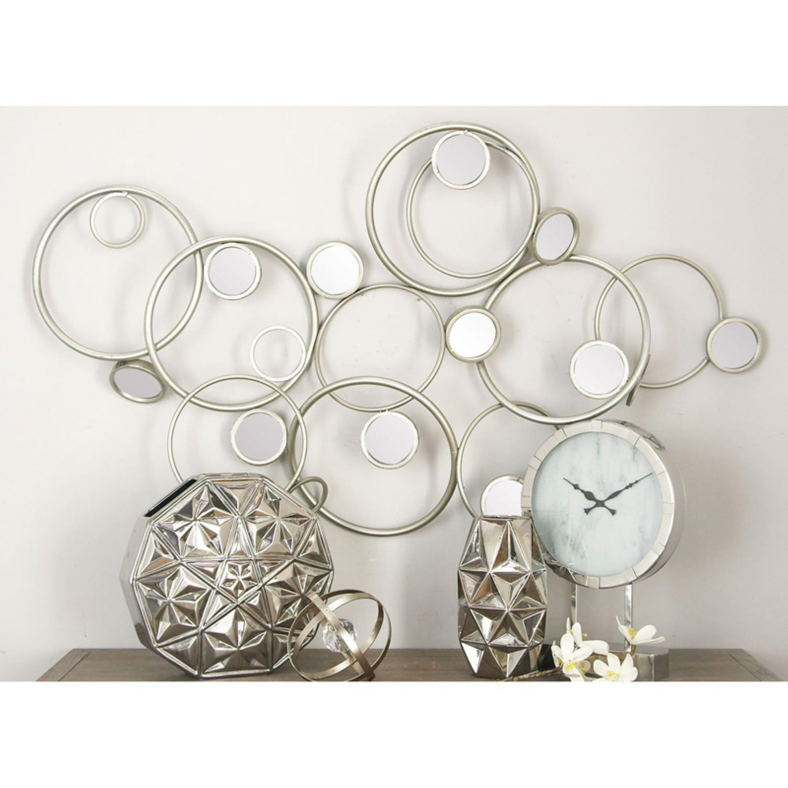 """Modern Reflections Metal Mirror Wall Decor 64""""w, 30""""h 50287 Throughout Contemporary Abstract Round Wall Decor (View 20 of 30)"""
