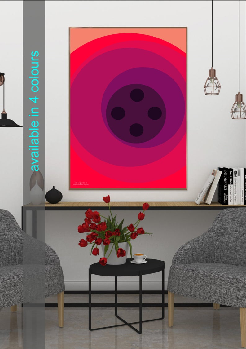 Modern Retro Geometric Wall Art. Contemporary Design Using Curves And Circles In A Choice Of 4 Colourways That Is A Great Last Minute Gift (View 16 of 30)