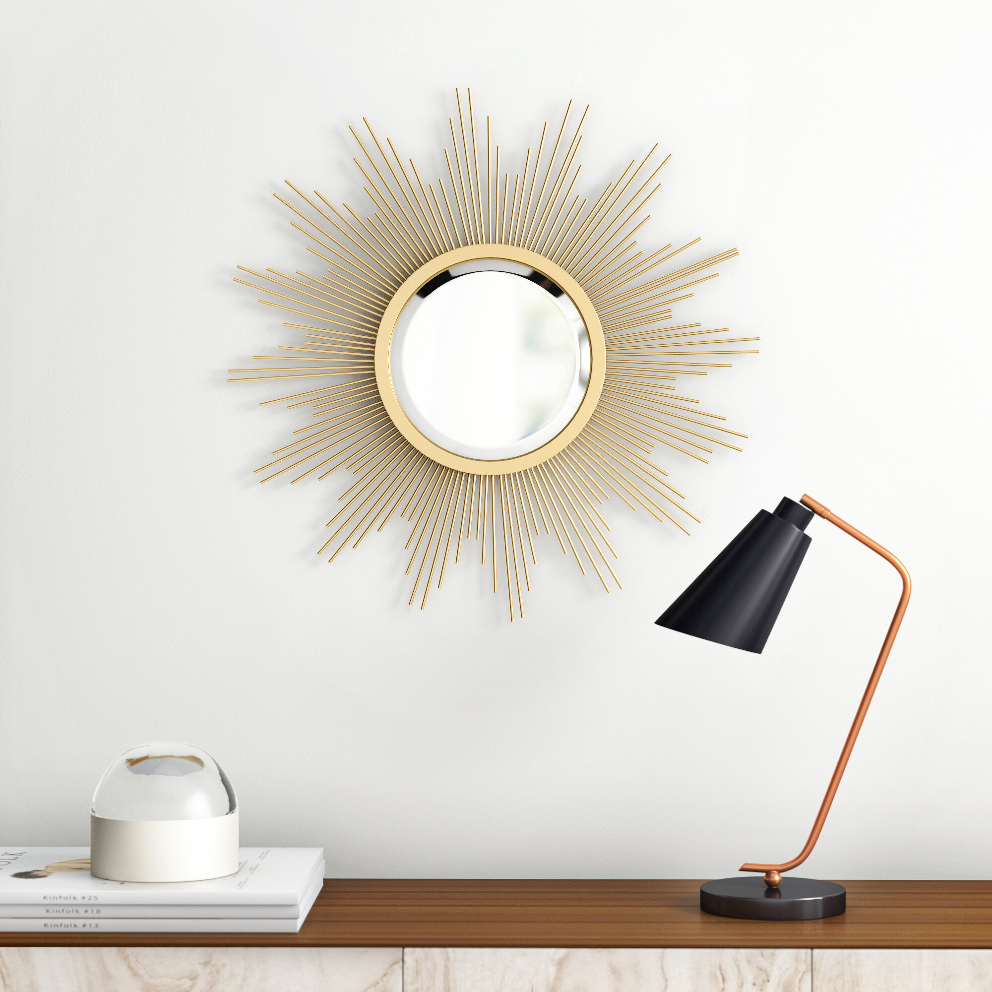 Modern Sunburst Mirrors | Allmodern pertaining to Jarrod Sunburst Accent Mirrors (Image 21 of 30)