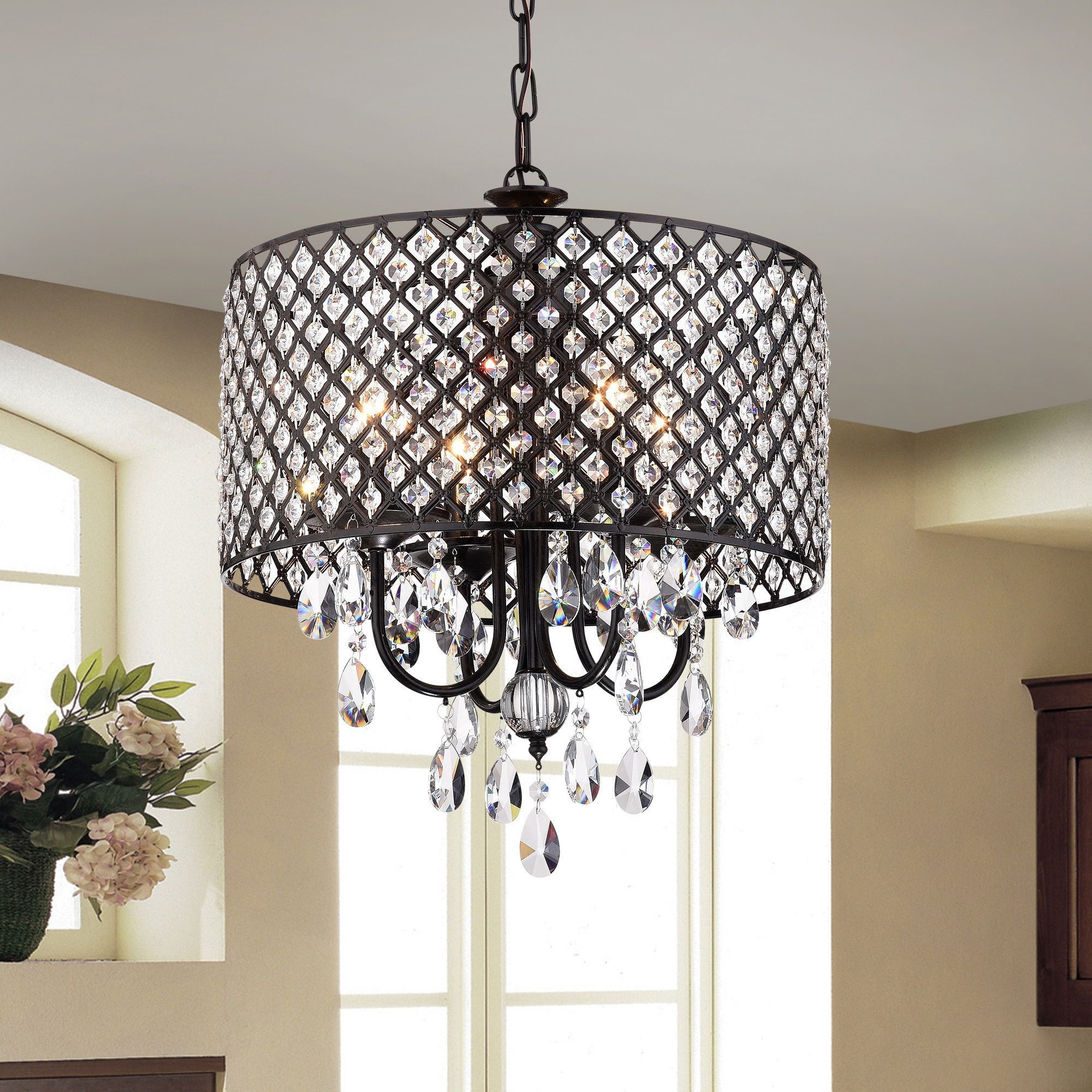 Monet 4 Lights Black Finished 17 Inch Crystal Round Within Albano 4 Light Crystal Chandeliers (Image 22 of 30)