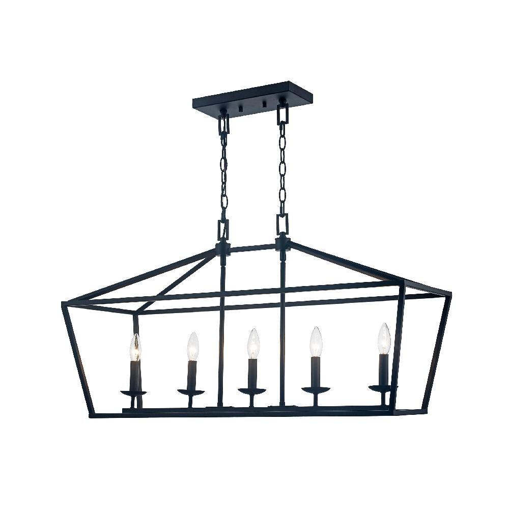 Monteaux Lighting Caged 5 Light Bronze Chandelier | Home Regarding Freemont 5 Light Kitchen Island Linear Chandeliers (View 8 of 30)