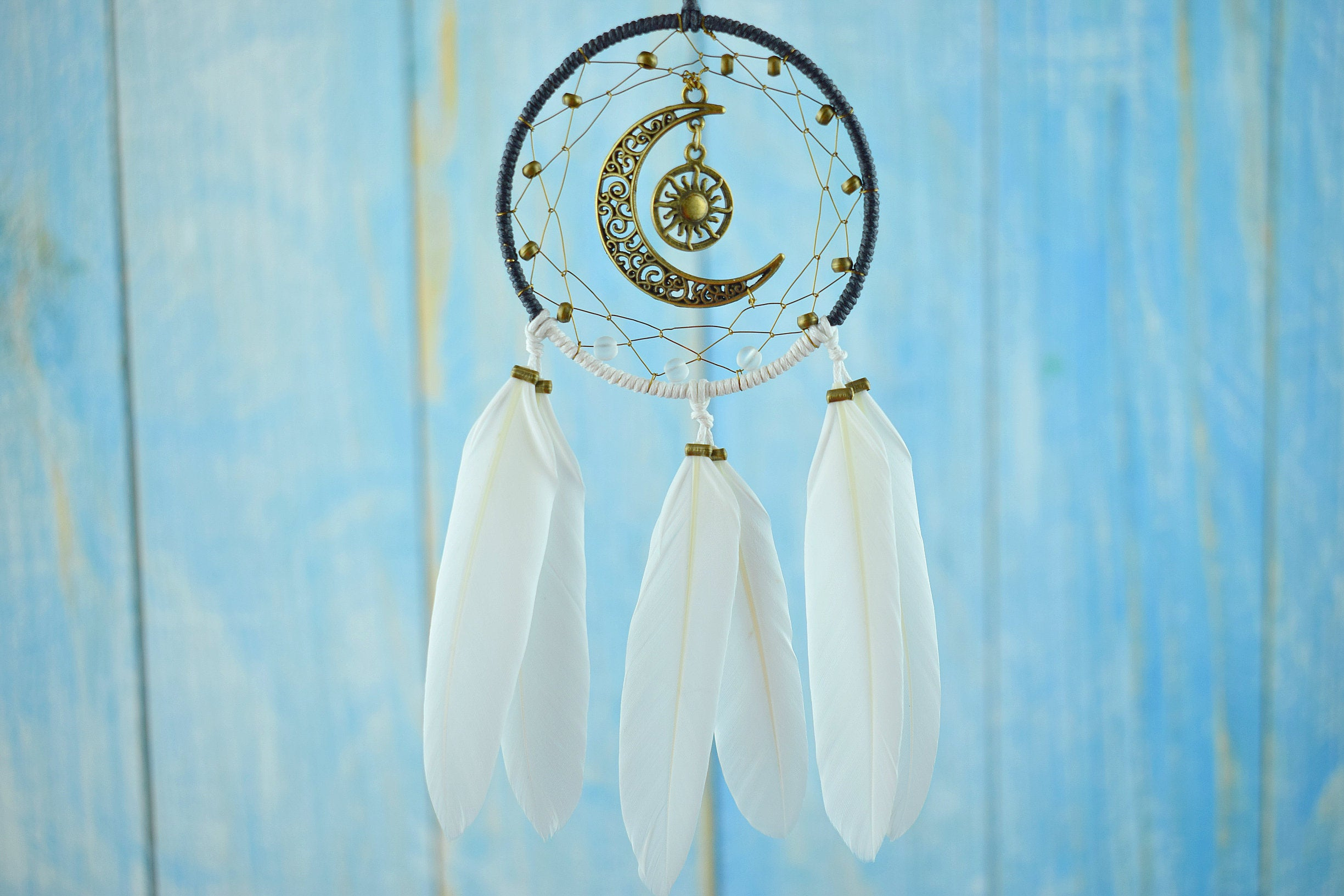 Moon And Sun Dream Catcher For Car Accessories For Women Vegan Decoration Crescent Gold Moon Phase Wall Hanging Recycled Art Pagan Decor Throughout Recycled Moon And Sun Wall Decor (View 13 of 30)