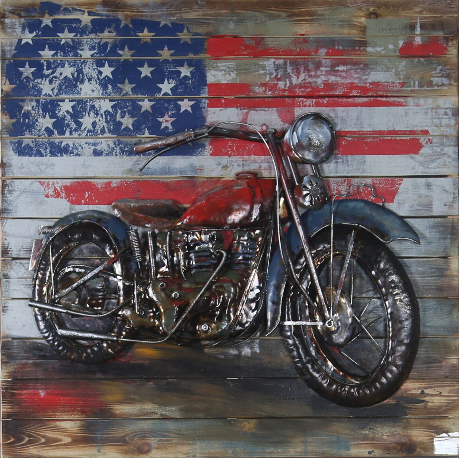 """""""motorcycle 1"""" Harley Davidson Mixed Media Hand Painted Iron Wall Sculpture  Gift for Mixed Media Iron Hand Painted Dimensional Wall Decor (Image 9 of 30)"""