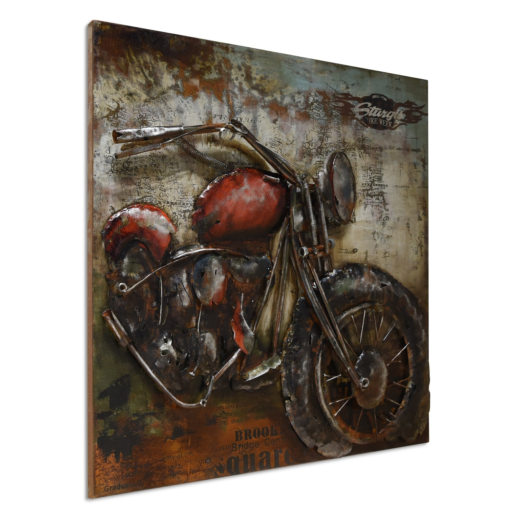 """""""motorcycle 2"""" Mixed Media Iron Hand Painted Dimensional Wall Décor with regard to Mixed Media Iron Hand Painted Dimensional Wall Decor (Image 10 of 30)"""