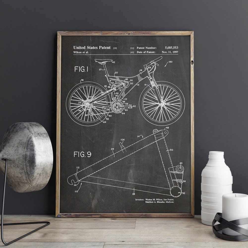 Mountain Bike Patent,cycling Artwork,bicycle Wall Art ,bike Posters, Room Decor, Print,blueprint, Gift Idea,wall Decorations Inside Bike Wall Decor (View 18 of 30)