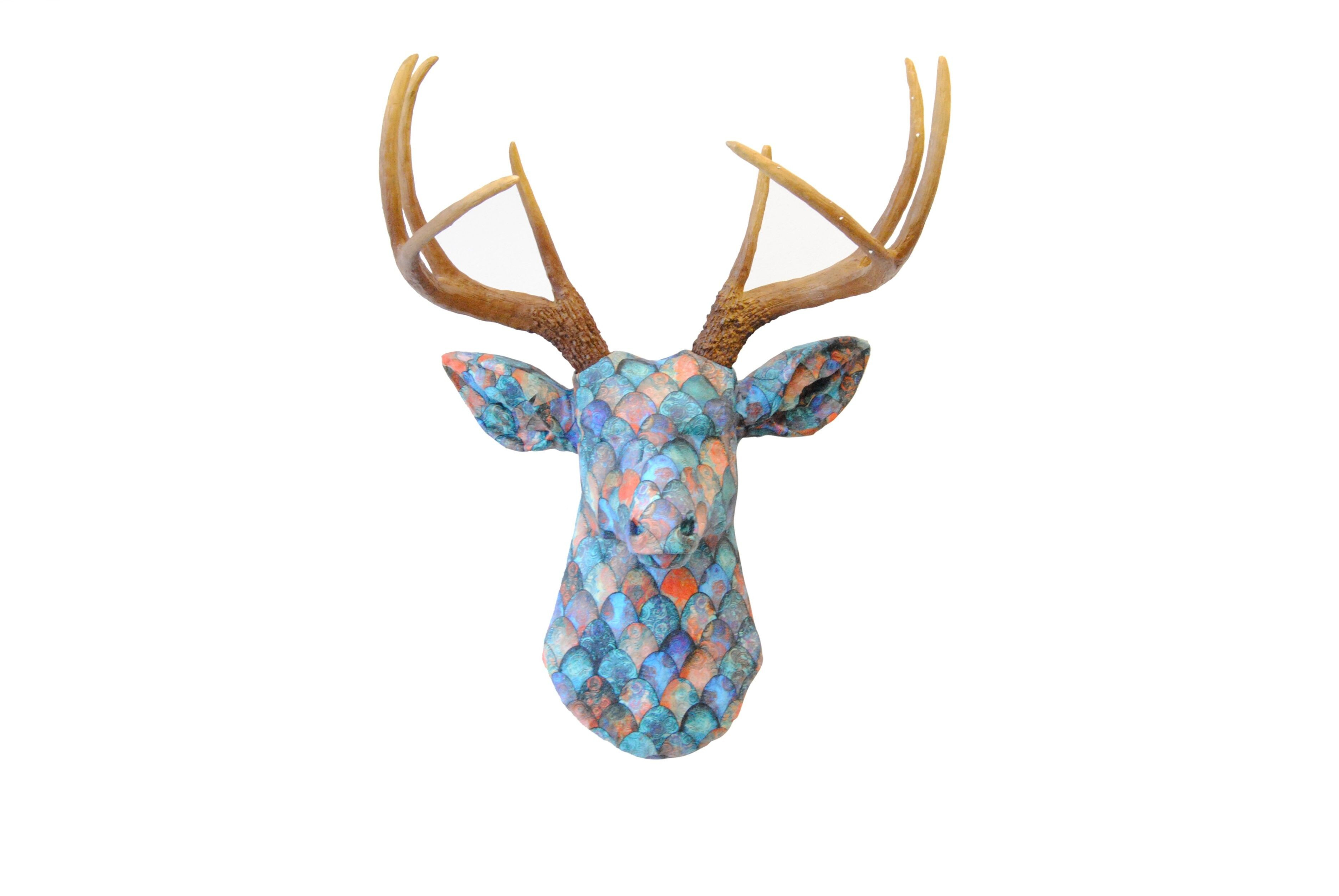 Multi Colored Dragon Scale Fabric Deer Head Brown Antlers Chic Fabric Decor Faux Taxidermy Stag Head Wall Mount In Large Deer Head Faux Taxidermy Wall Decor (View 17 of 30)