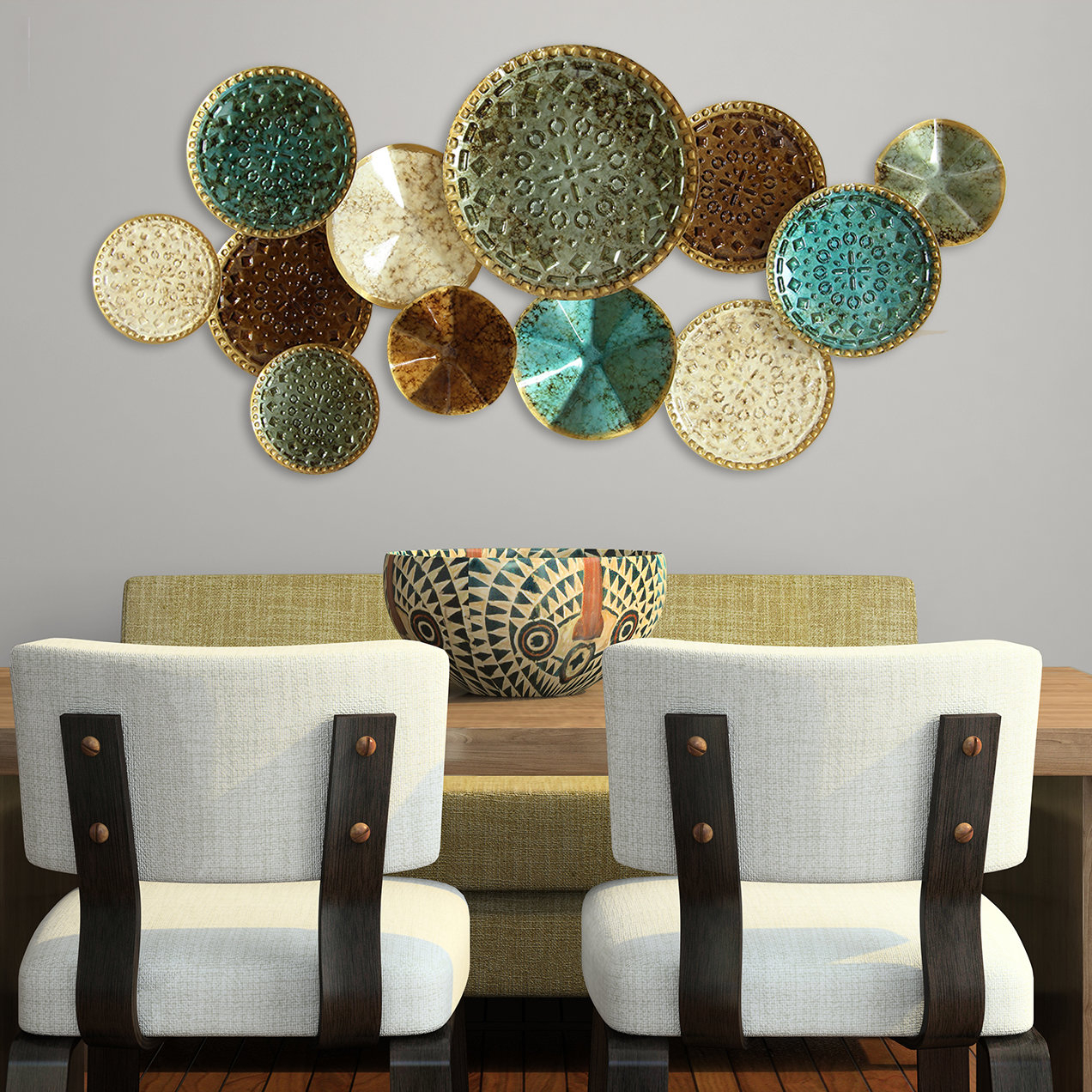 Multi Plates Wall Décor regarding Scattered Metal Italian Plates Wall Decor (Image 13 of 30)