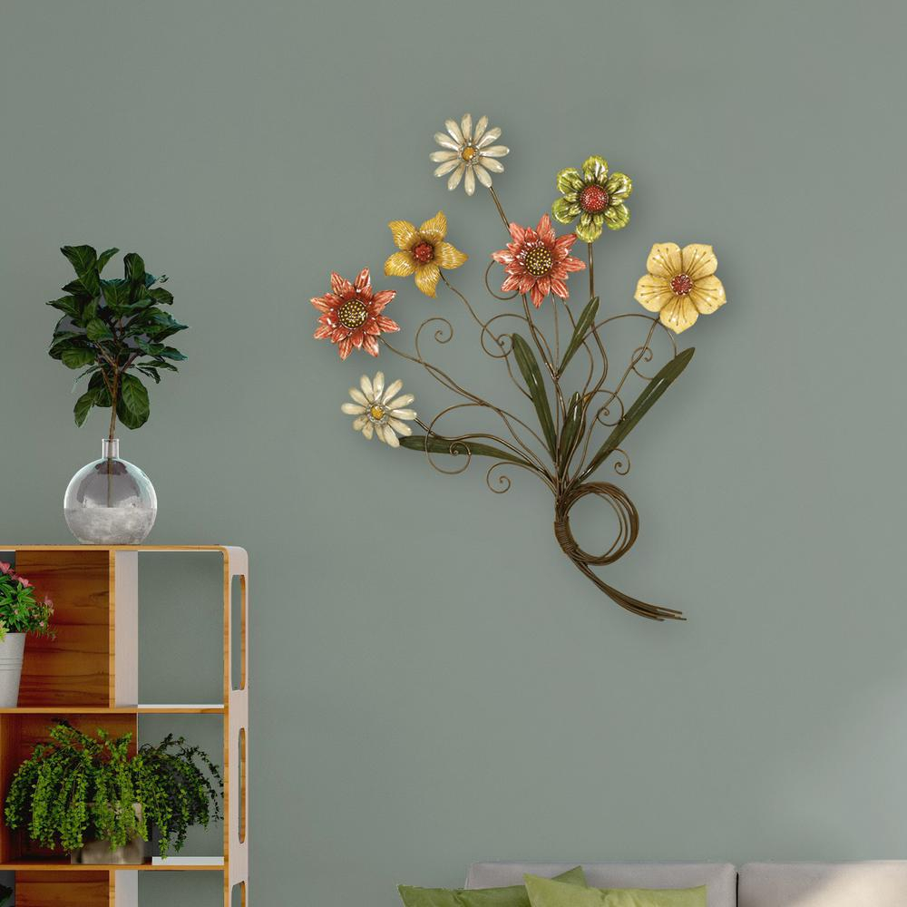 Multicolored Flower Metal Work Wall Decor For Oil Rubbed Metal Wall Decor (View 20 of 30)